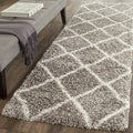 Safavieh Hudson Diamond Shag Grey/ Ivory Runner (2' 3 x 12')