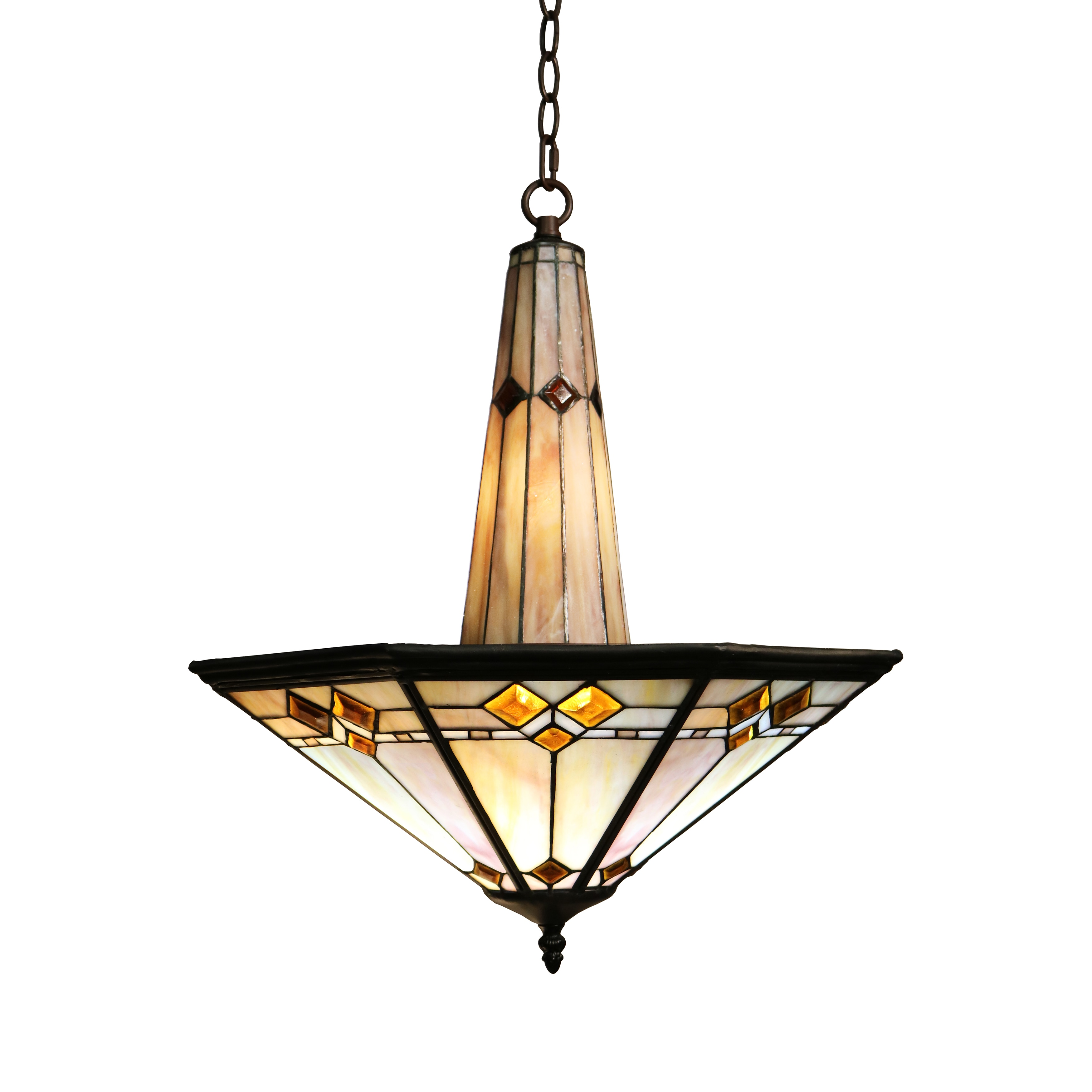 Sue 3 light Mission Style 19 inch Tiffany style Ceiling Lamp
