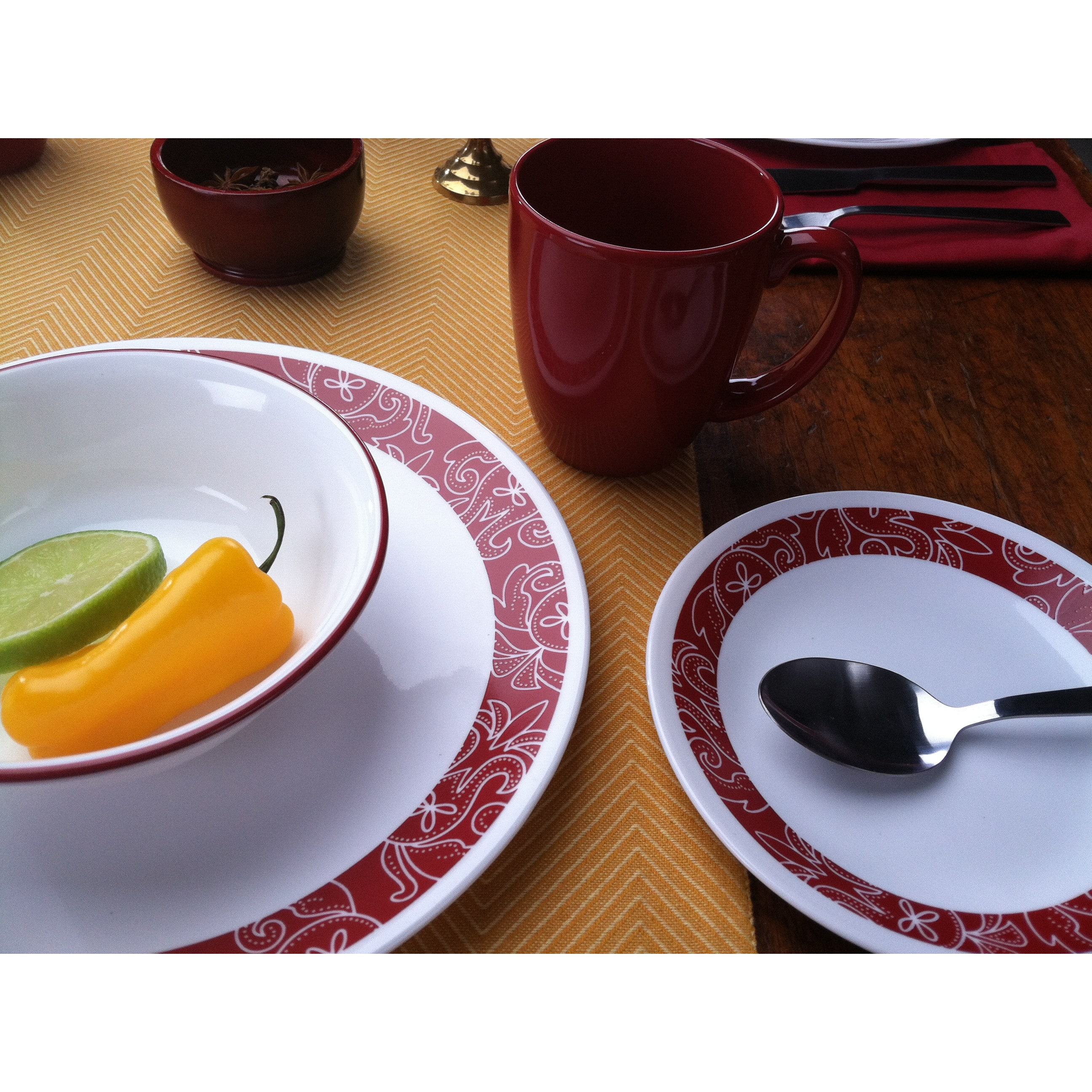 Corelle Livingware Bandhani 16-piece Chip-Resistant Dinnerware Set - Free Shipping Today - Overstock - 18643250  sc 1 st  Overstock.com & Corelle Livingware Bandhani 16-piece Chip-Resistant Dinnerware Set ...