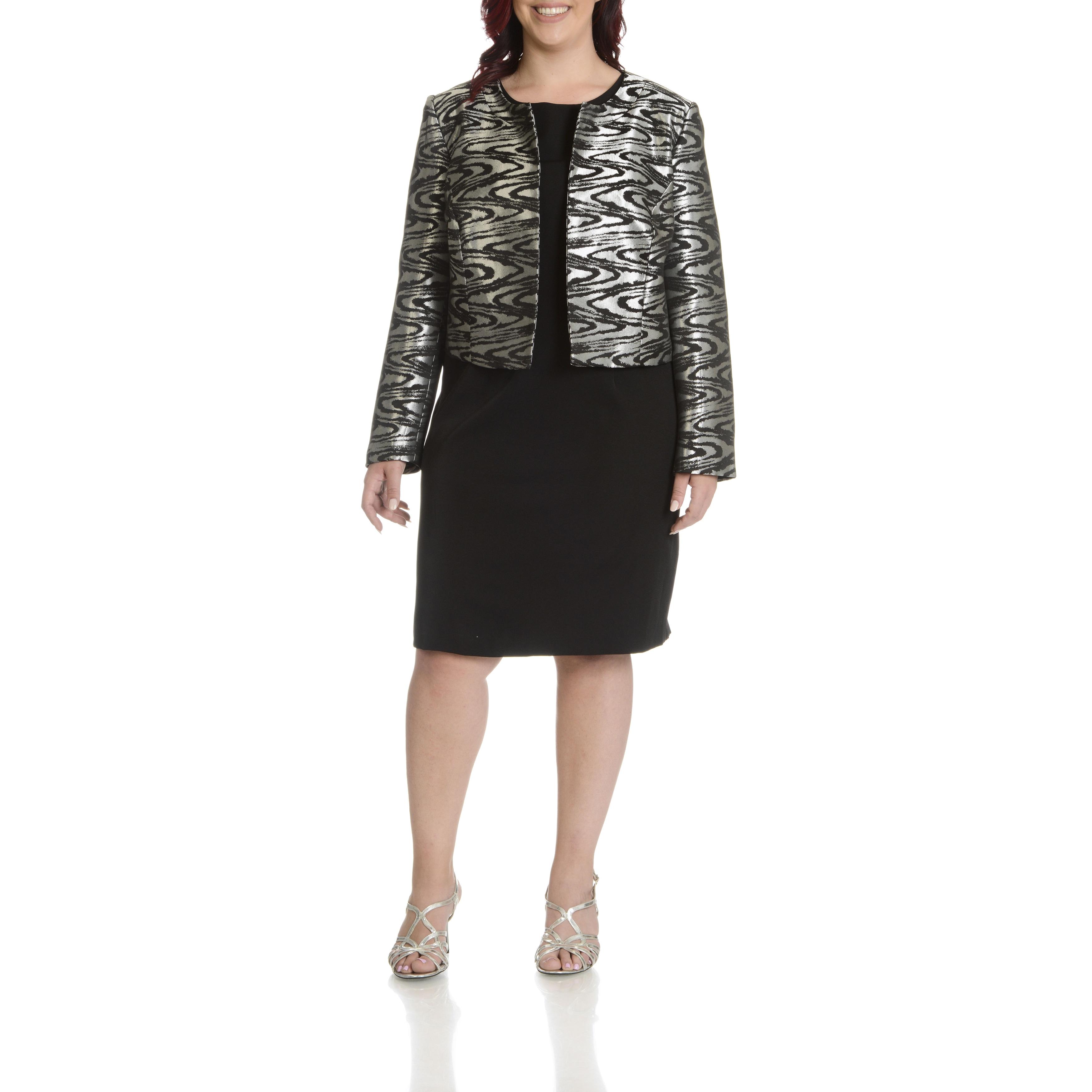 Shop Danillo Women S Plus Size Printed Metallic Dress Suit Free