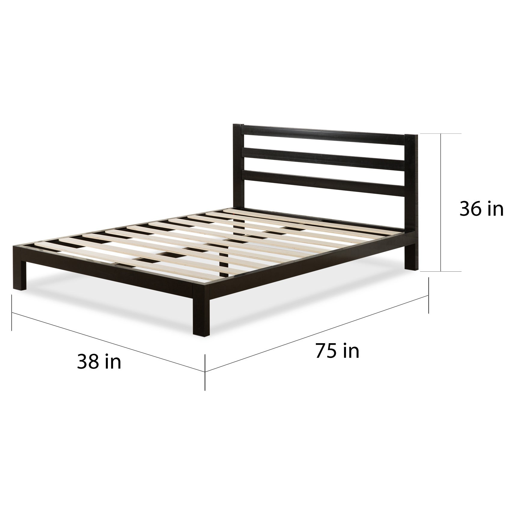 Shop Priage 2000H Twin-size Black Steel Platform Bed Frame with ...