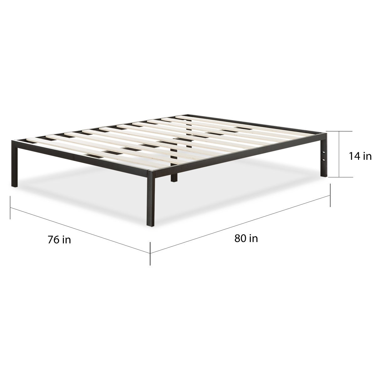 Priage Platform 1500 Steel and Wool King Bed Frame - Free Shipping ...