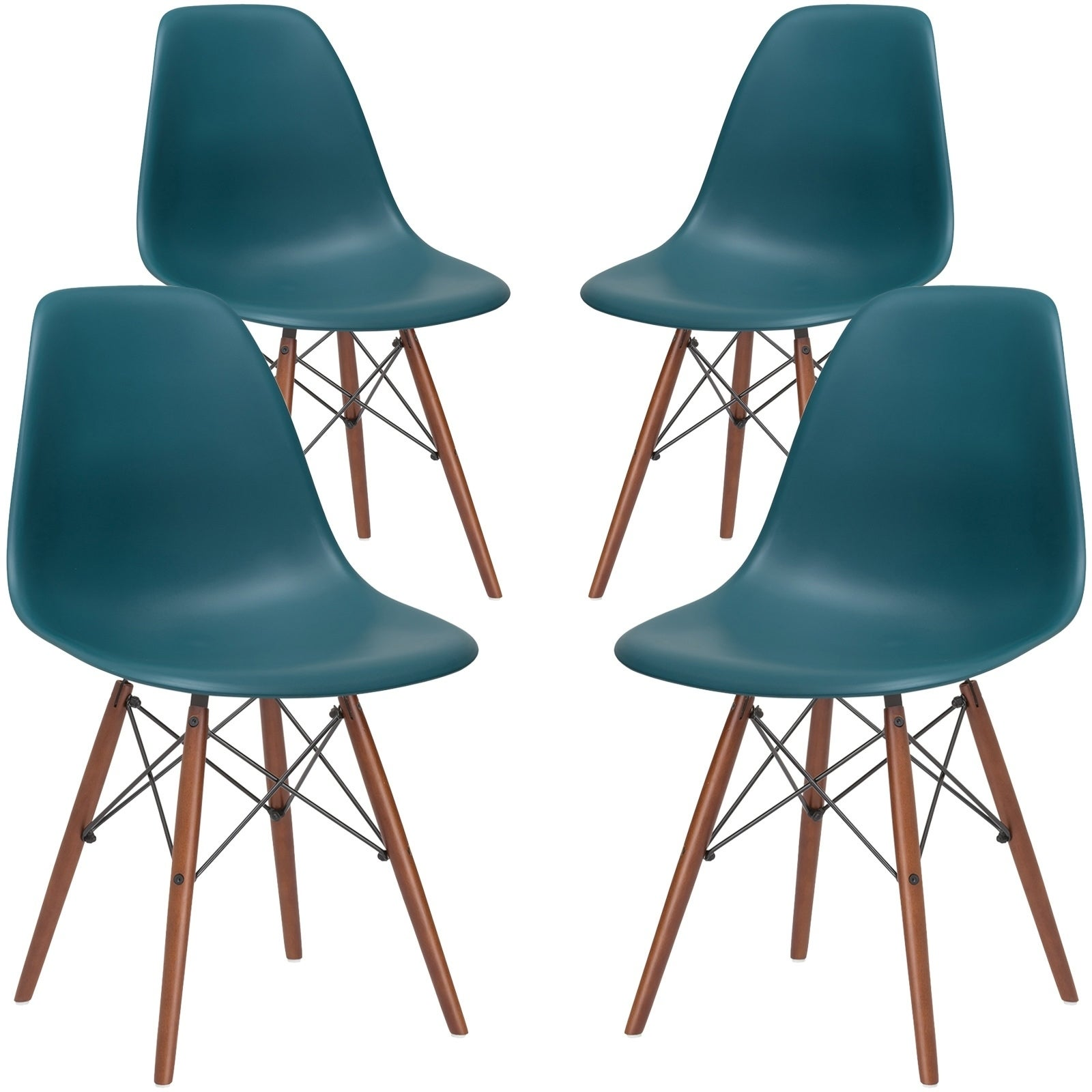 Shop Poly and Bark Vortex Dining Chair with Walnut Legs (Set of 4 ...