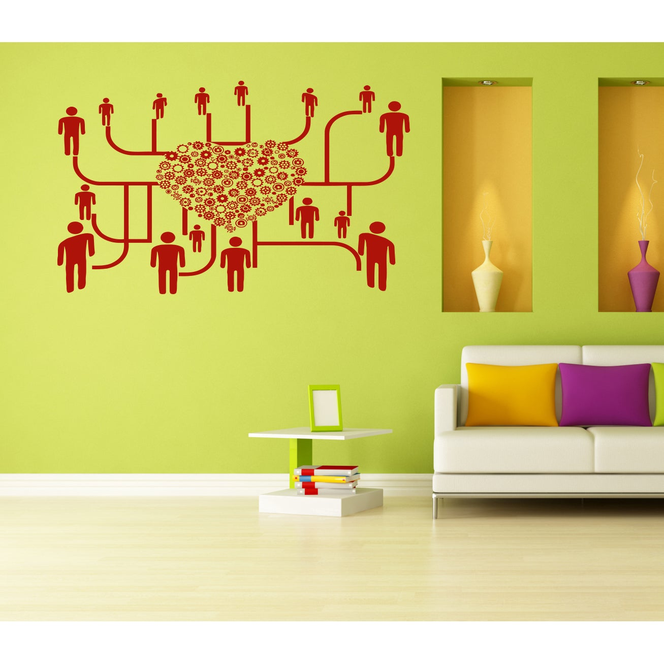 Many people heart mechanism love Wall Art Sticker Decal Red - Free ...