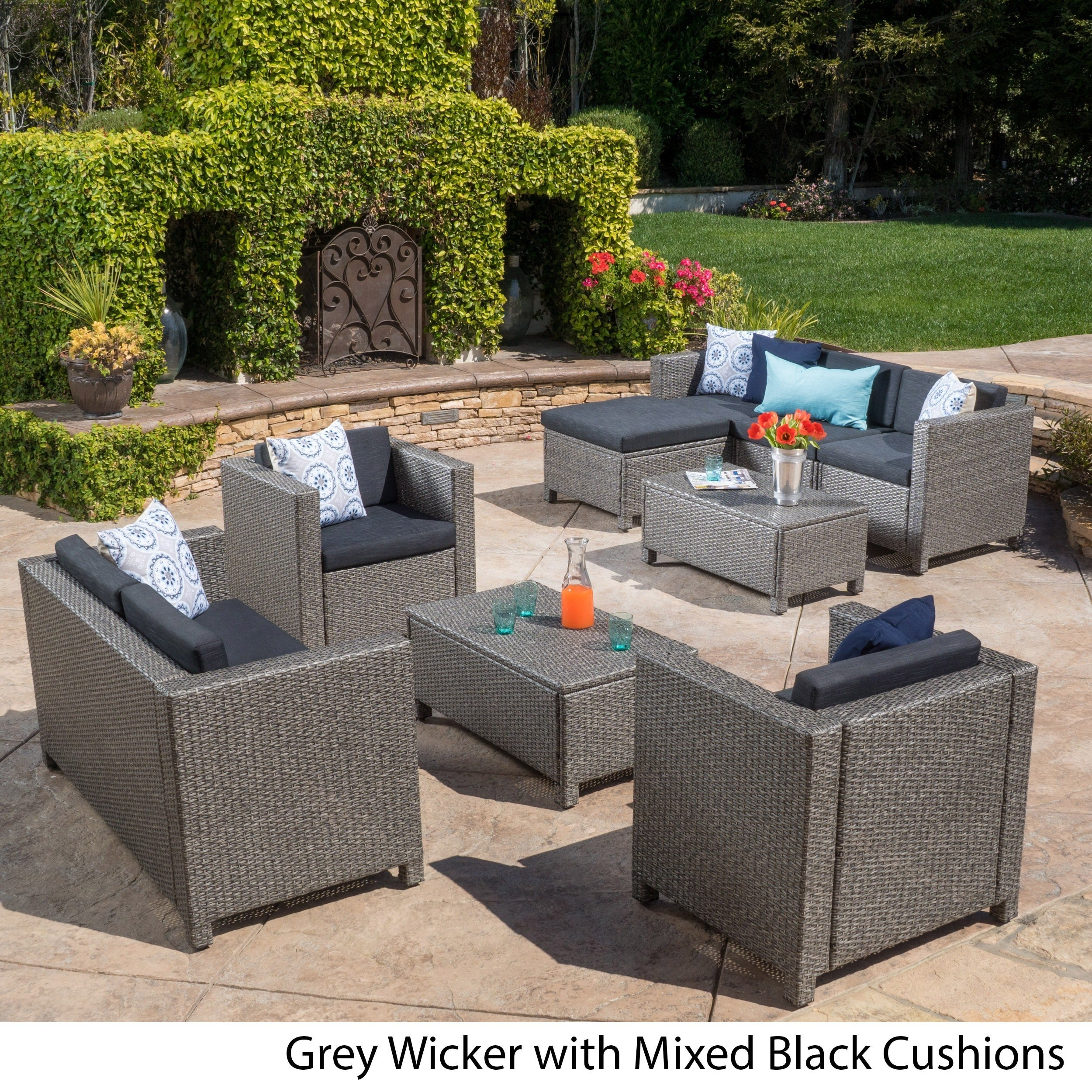 Shop Puerta Outdoor 9 Piece Wicker Sectional Sofa Set With Cushions