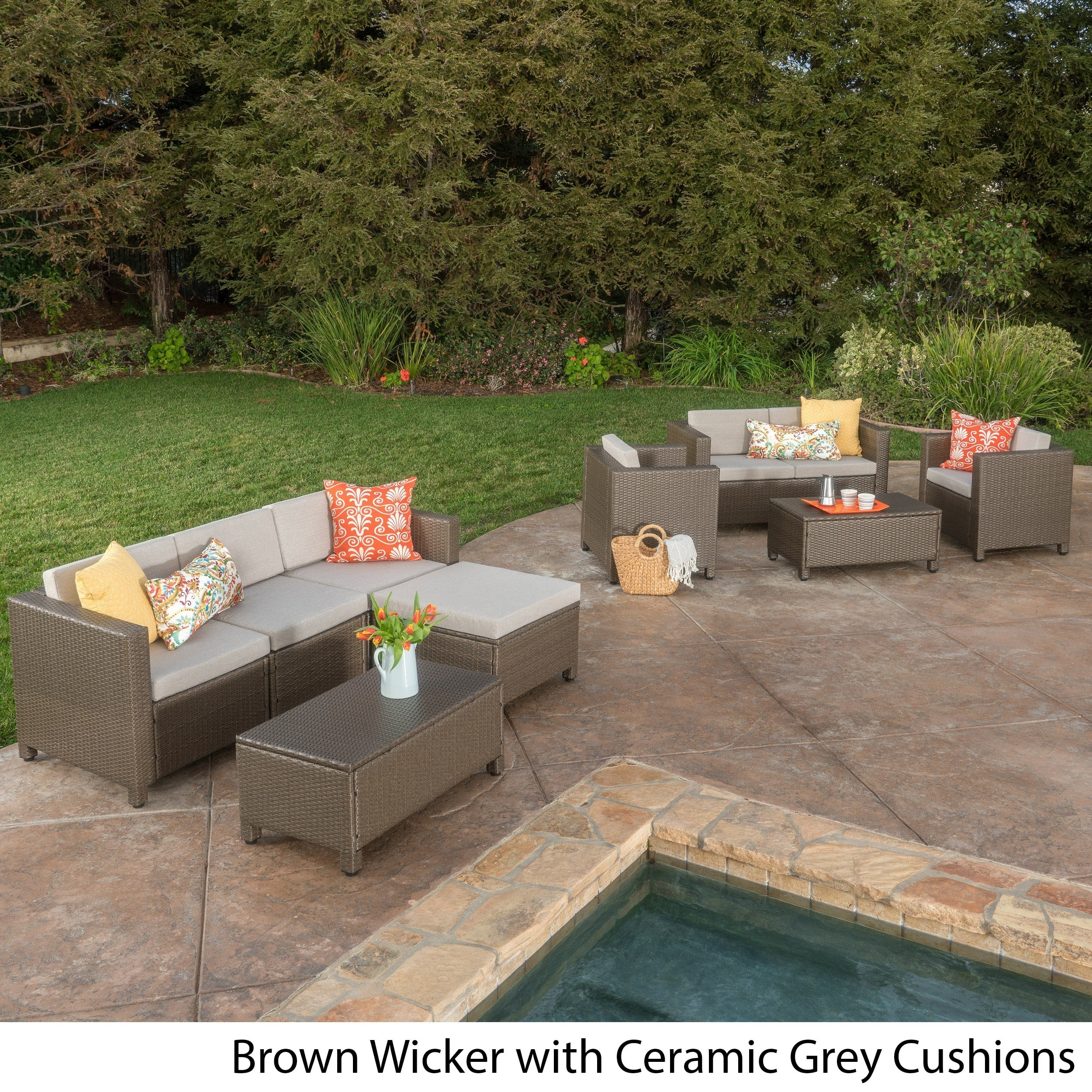 Puerta Outdoor 9 Piece Wicker Sectional Sofa Set With Cushions   Free  Shipping Today   Overstock.com   18654020