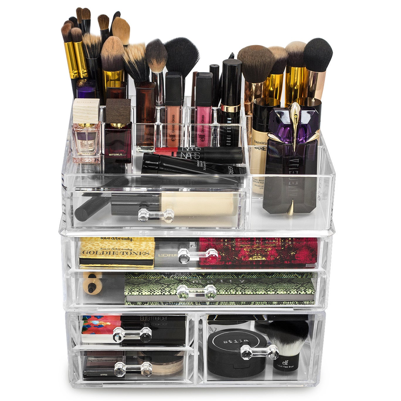 Shop Large Acrylic Drawers with 15-section Makeup Organizer - Free Shipping On Orders Over $45 - Overstock - 11735948