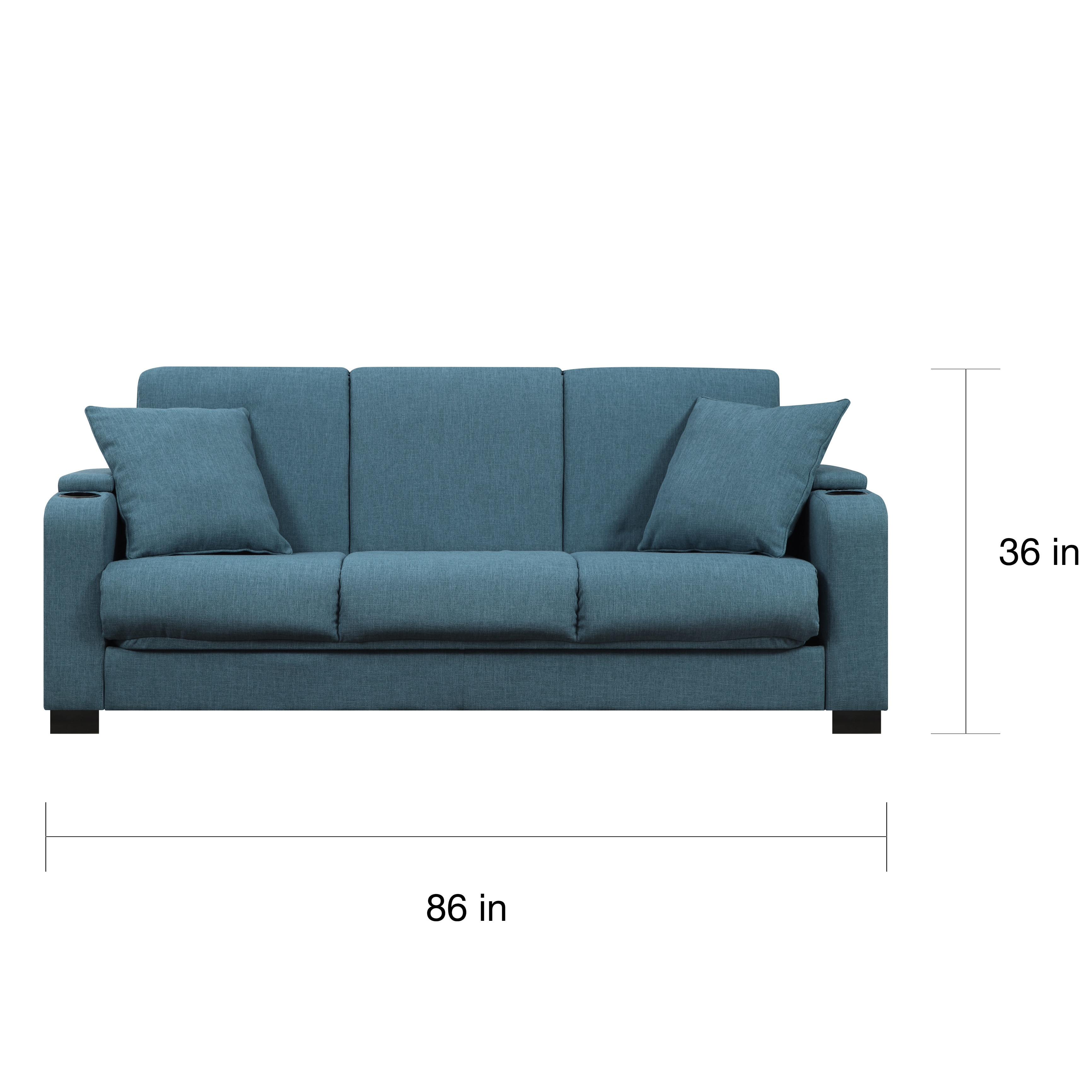 Handy Living Storage Arm Convert A Couch Blue Linen Futon Sleeper Sofa Free Shipping Today 11736514