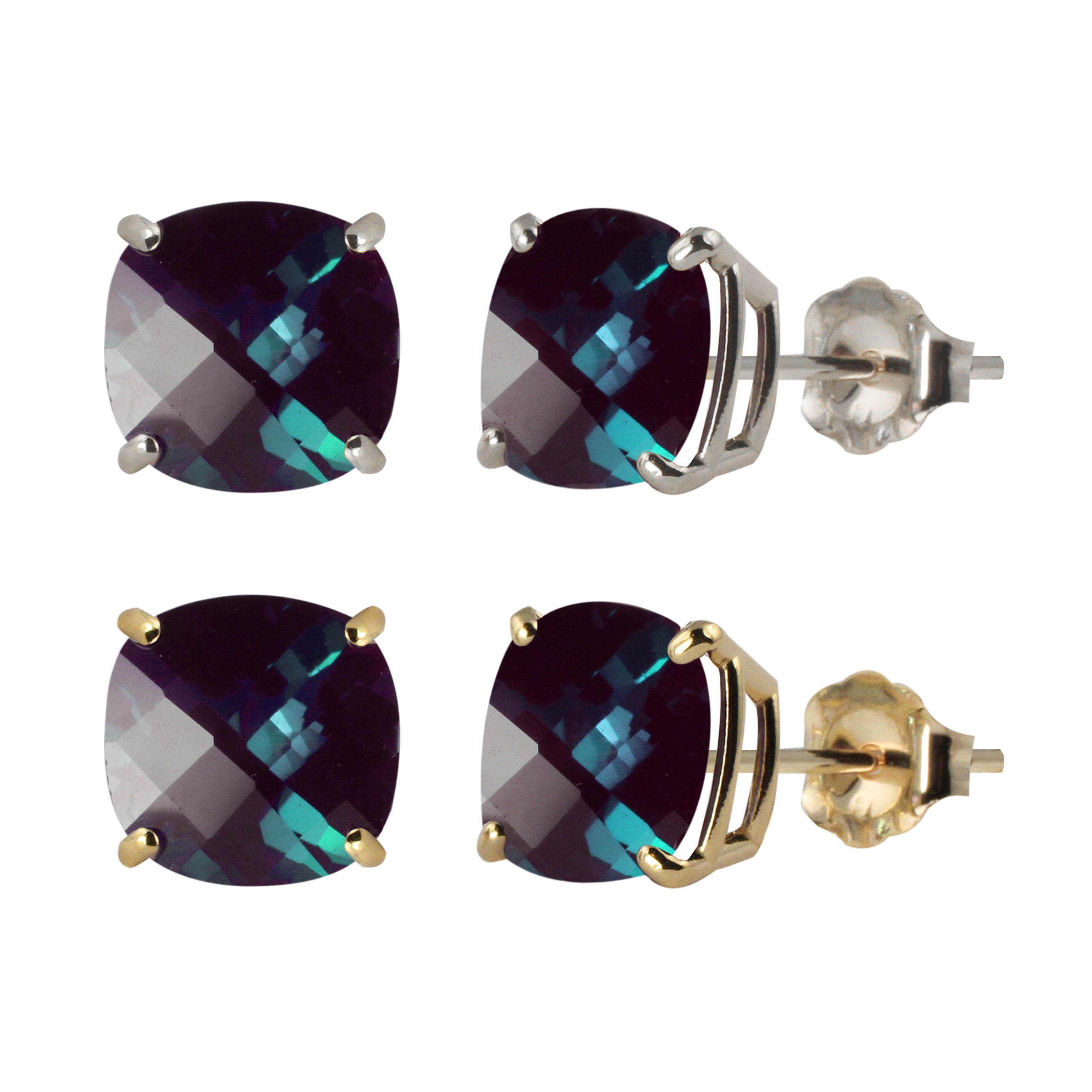 10k White Or Yellow Gold Checkerboard Cushion Lab Created Alexandrite Stud Earrings Blue