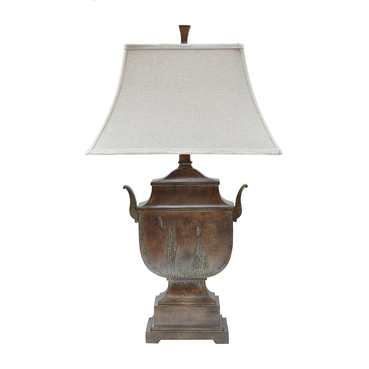 Shop seville urn rustic wood 34 inch table lamp free shipping today overstock 11739975