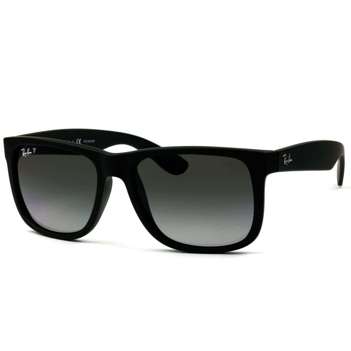 529d21e820f897 Ray-Ban RB4165 622 T3 Justin Classic Black Frame Polarized Grey Gradient  55mm Lens Sunglasses