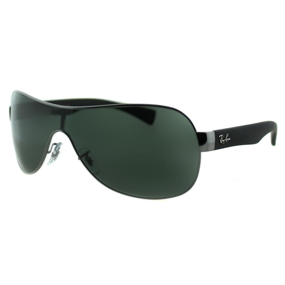fffd2f2f56 Ray Ban RB 3471 004 71 Matte Gunmetal Shield Green Lens Sunglasses