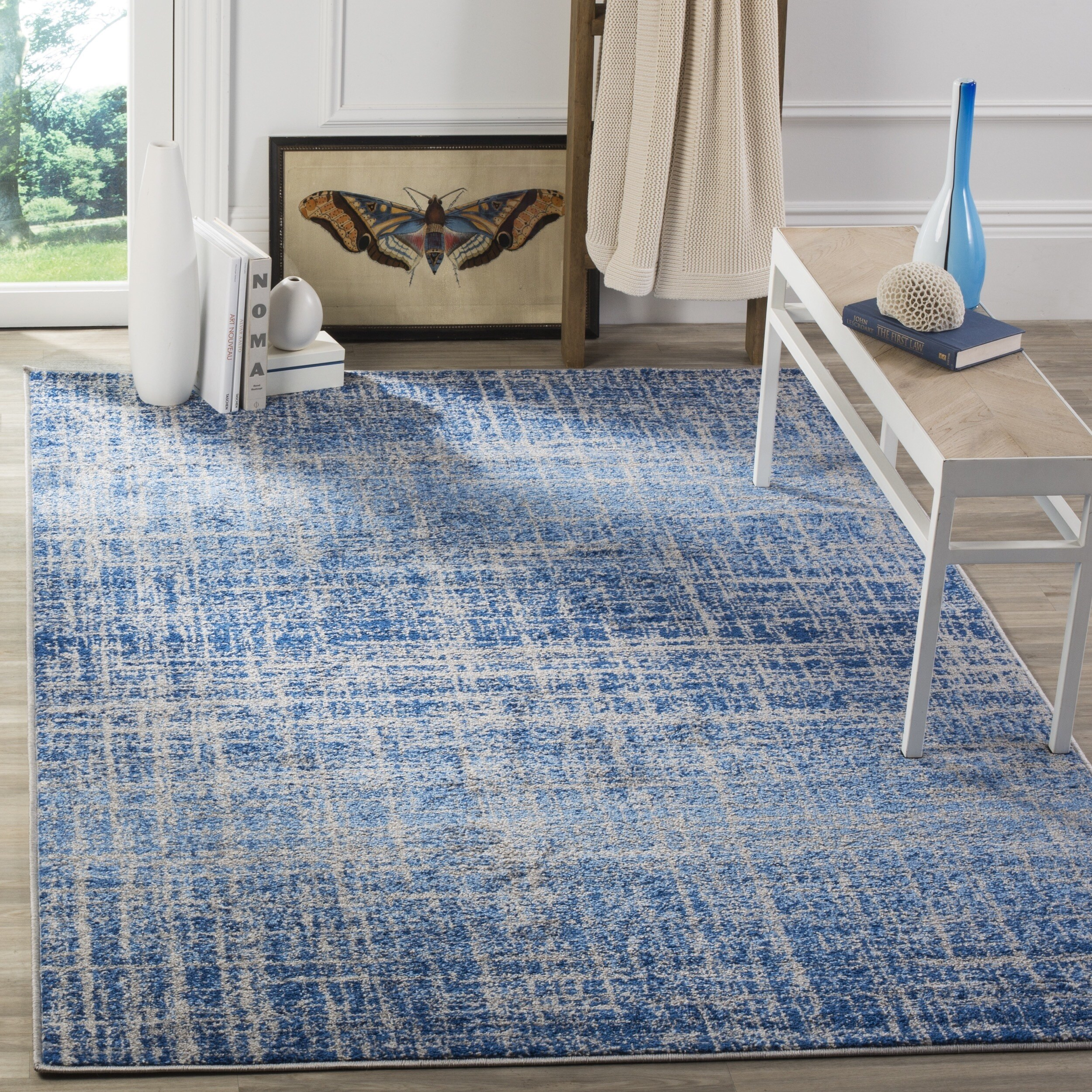 Clay Alder Home Modern Abstract Blue/ Silver Area Rug (8\' x 10\') - 8 ...