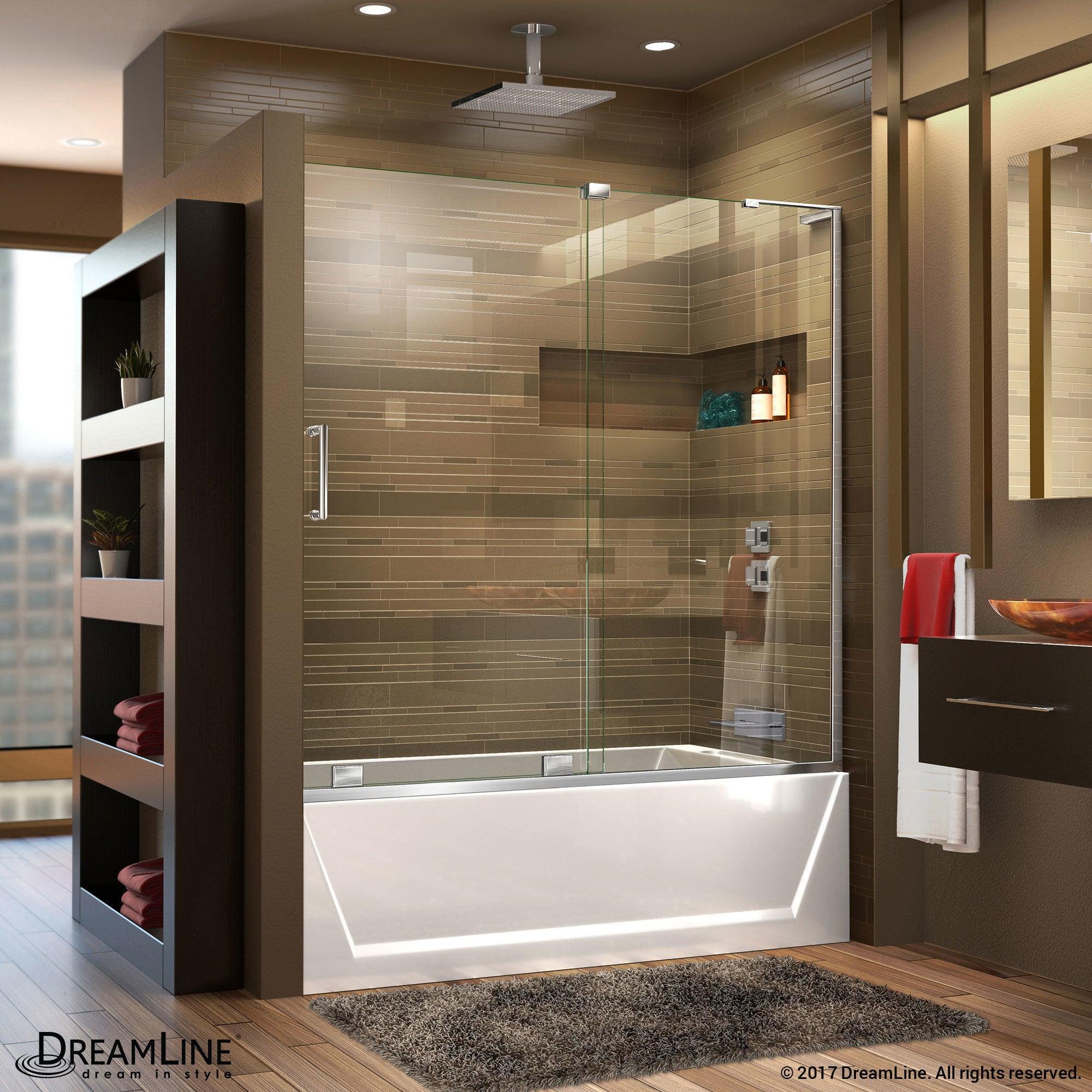 Shop DreamLine Mirage-X 56 - 60 in. W x 58 in. H Sliding Tub Door ...