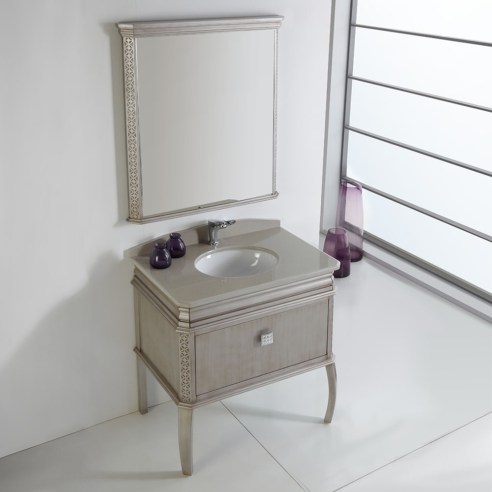 fd58b3f4c Shop Fresca Platinum London 32 Inch Antique Silver Bathroom Vanity with  Swarovski Element Handles - Free Shipping Today - Overstock - 11746454