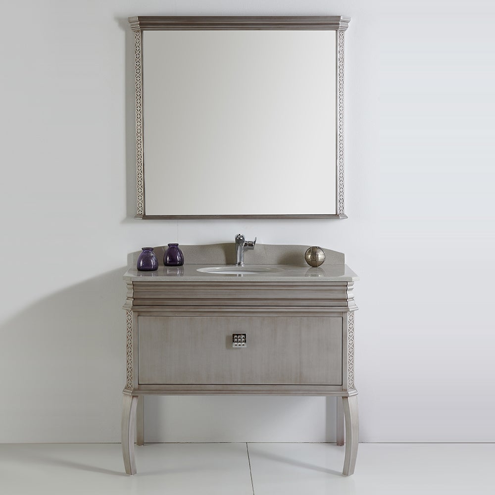 Shop Fresca Platinum London 40 Inch Antique Silver Bathroom Vanity W/  Swarovski Element Handles   Free Shipping Today   Overstock.com   11746501