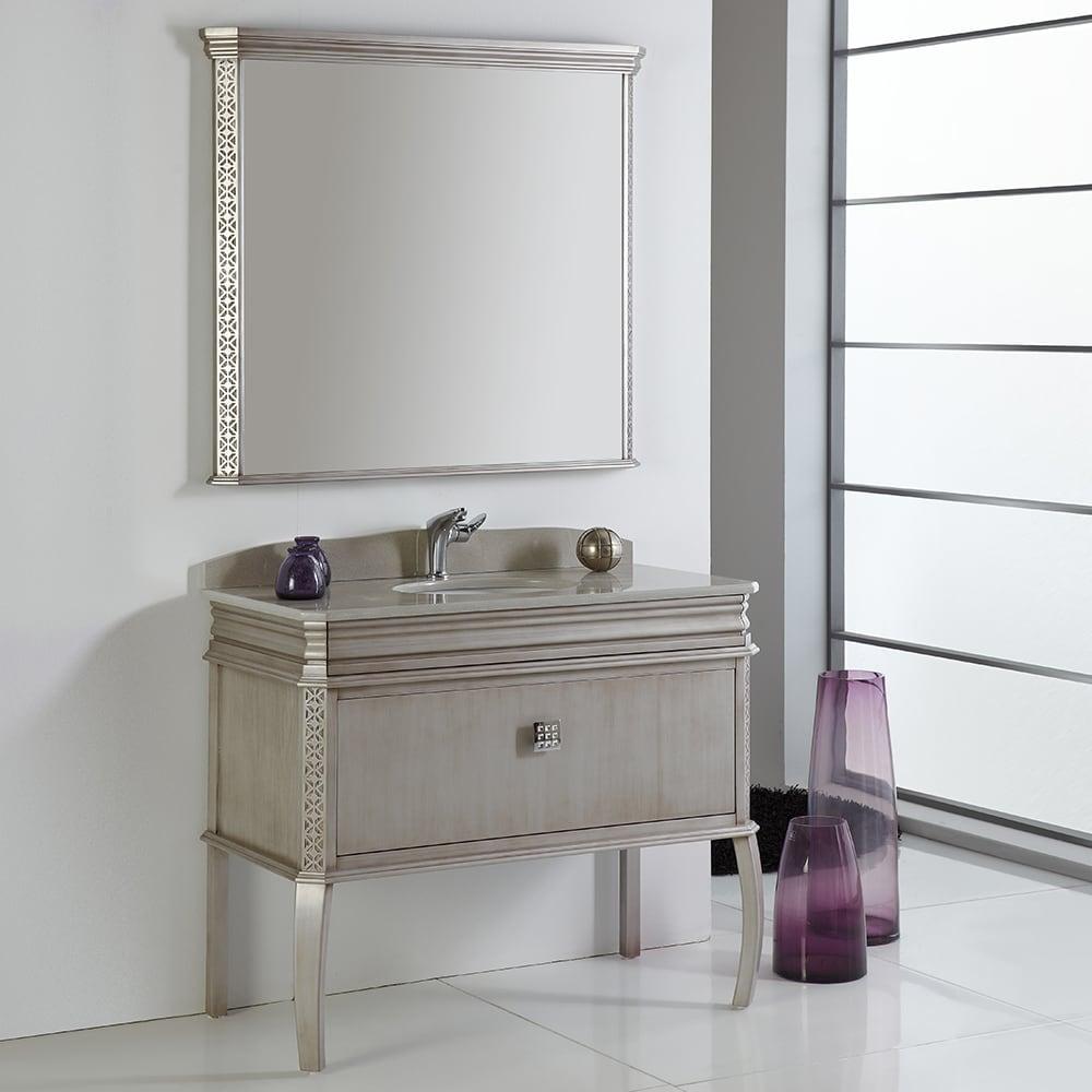 Merveilleux Shop Fresca Platinum London 40 Inch Antique Silver Bathroom Vanity W/  Swarovski Element Handles   Free Shipping Today   Overstock.com   11746501
