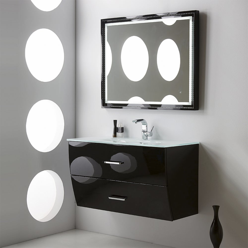 Shop Fresca Platinum Wave 40 Inch Glossy Black Modern Bathroom ...