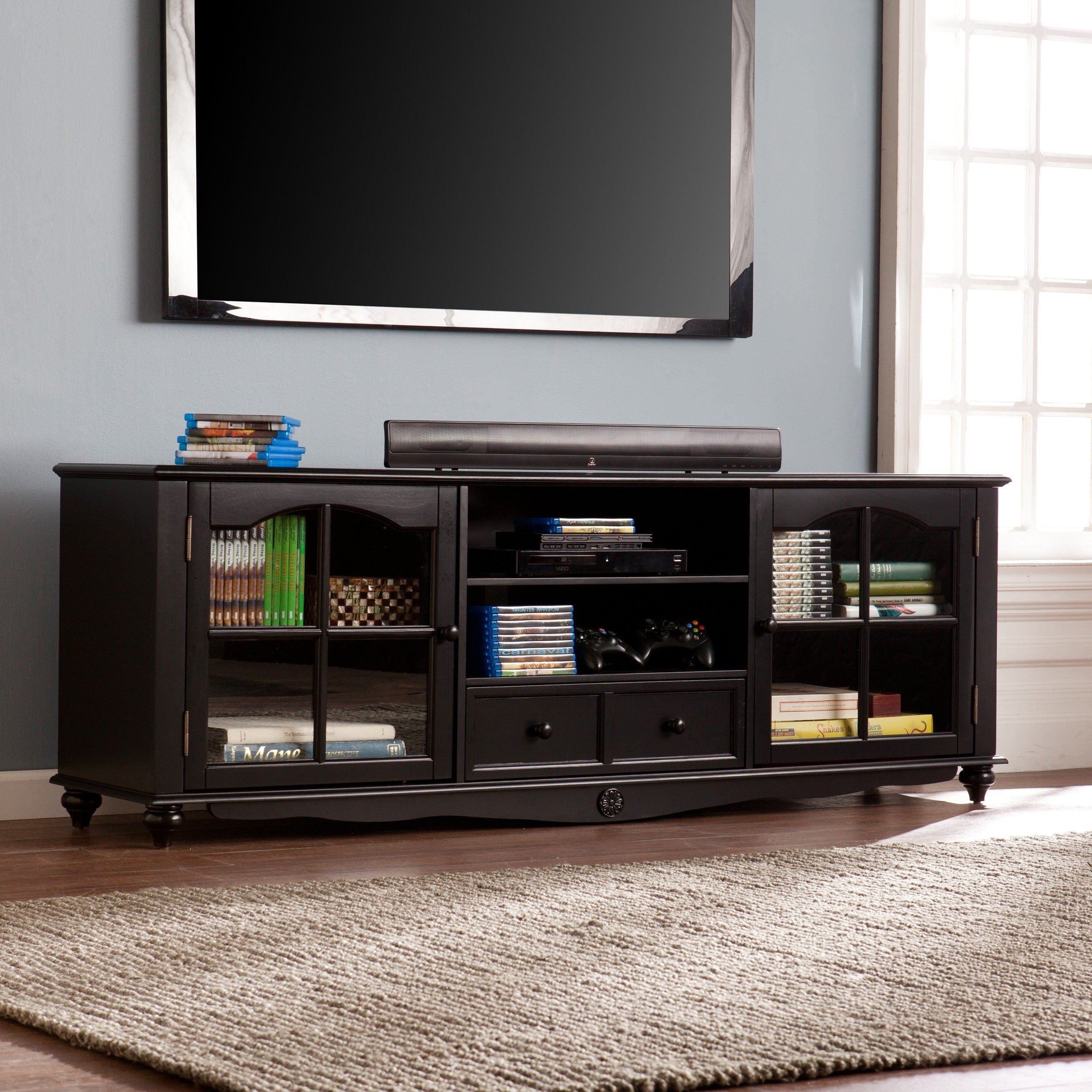 Gracewood Hollow Kongoli Antique Black 69 Inch Tv Console Free Shipping Today 22751237