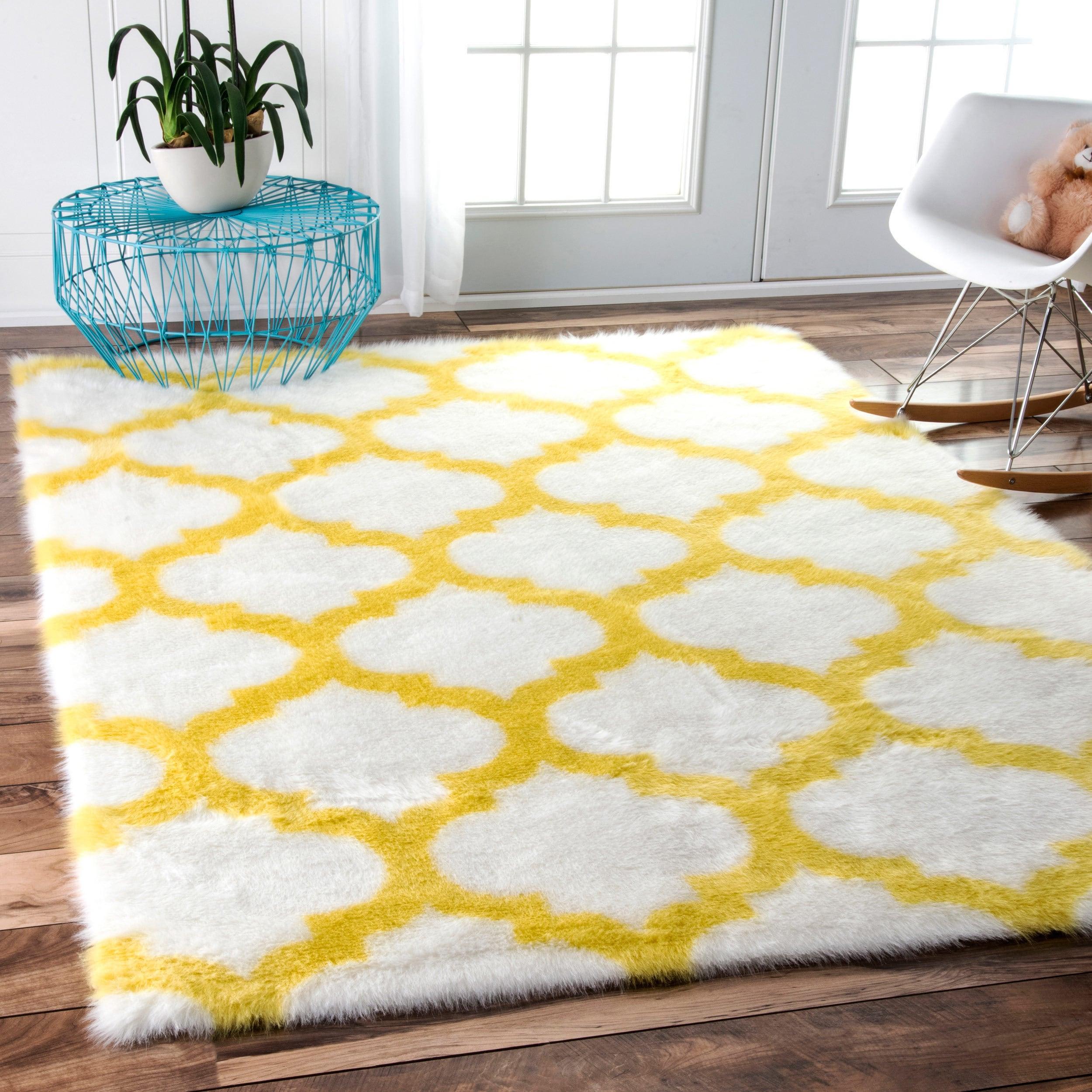 Nuloom Cozy Soft And Plush Faux Sheepskin Trellis Kids Nursery Yellow Rug 7 6 X 9 8 10 Free Shipping Today 11750533