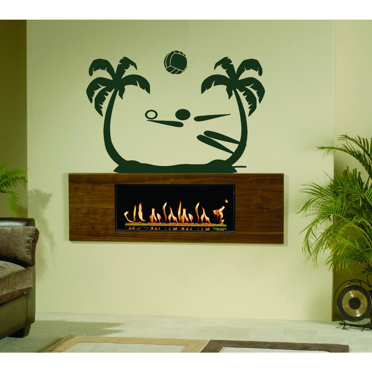 The game of volleyball on the beach Wall Art Sticker Decal Green ...