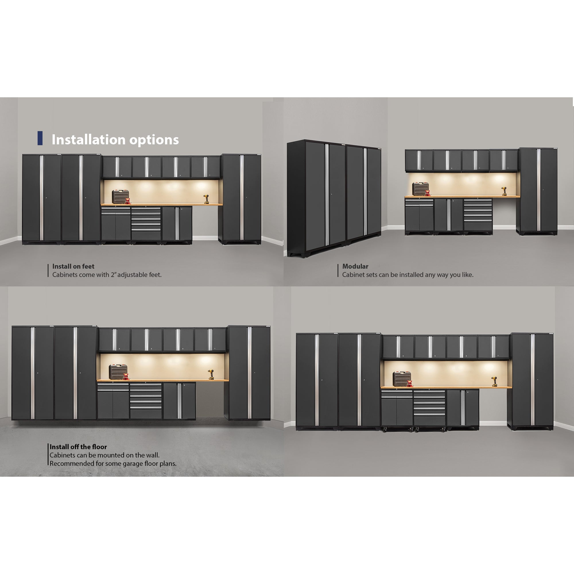 NewAge Pro Series 12 Piece Steel Cabinet Set With Bamboo Worktops   Free  Shipping Today   Overstock.com   18677998