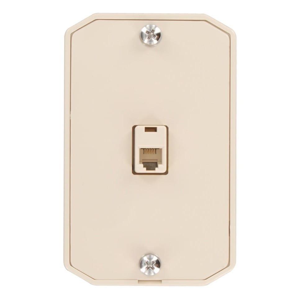 Shop Leviton 831-C0253-I Single Gang Ivory Wall Phone Jack - Free ...