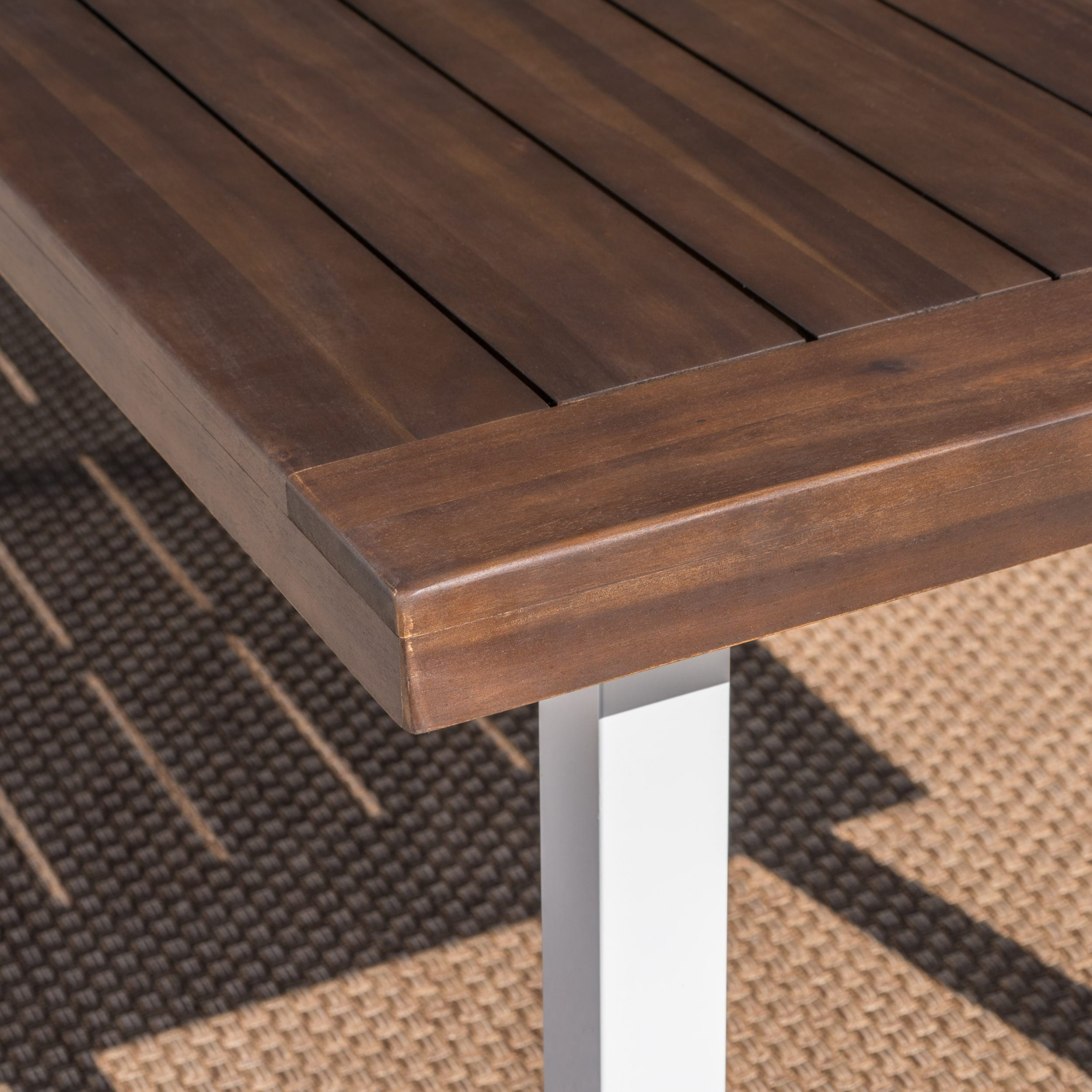 Shop Della Outdoor Acacia Wood Rectangle Dining Table by Christopher ...