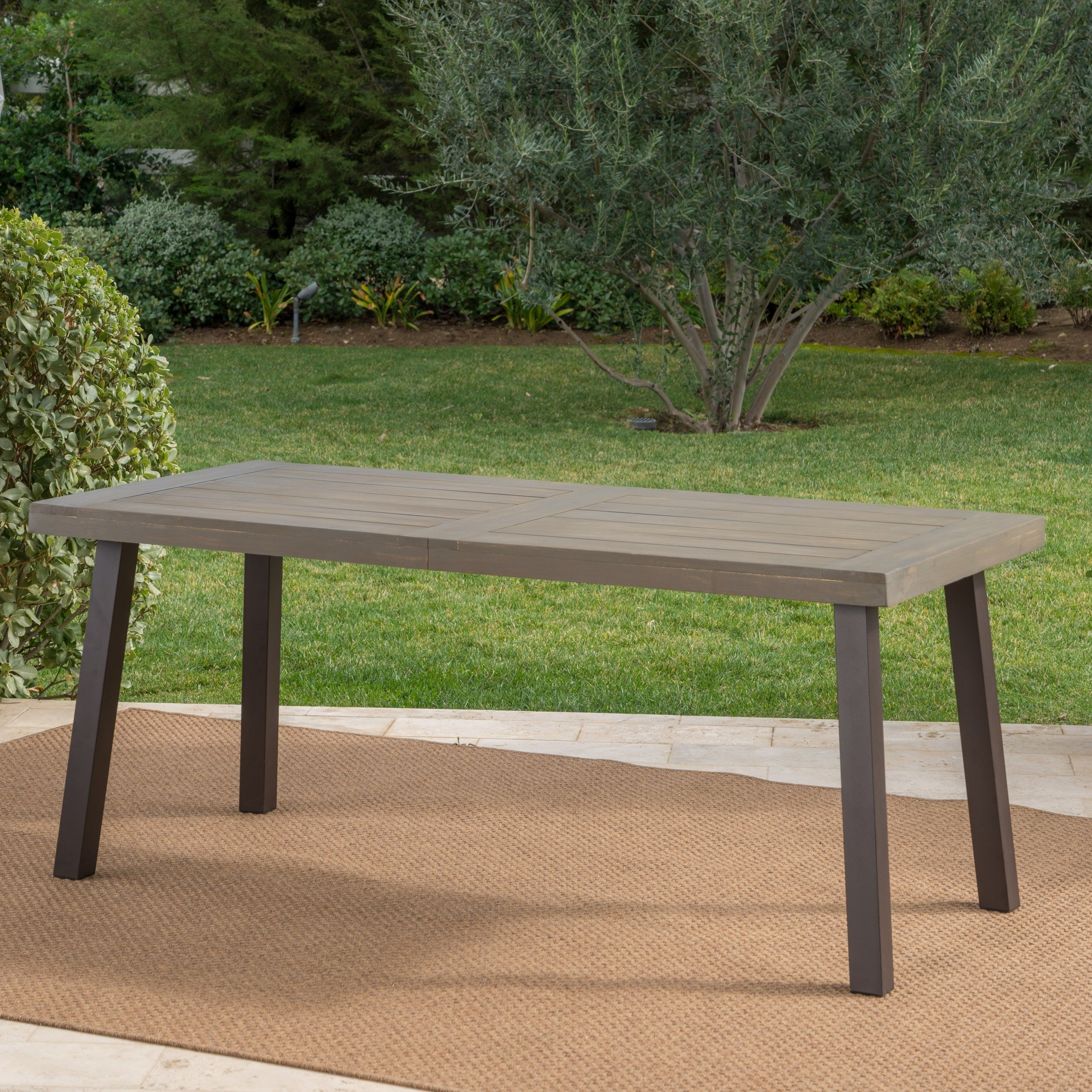 Shop Della Outdoor Acacia Wood Rectangle Dining Table By Christopher - Outdoor wood rectangular dining table