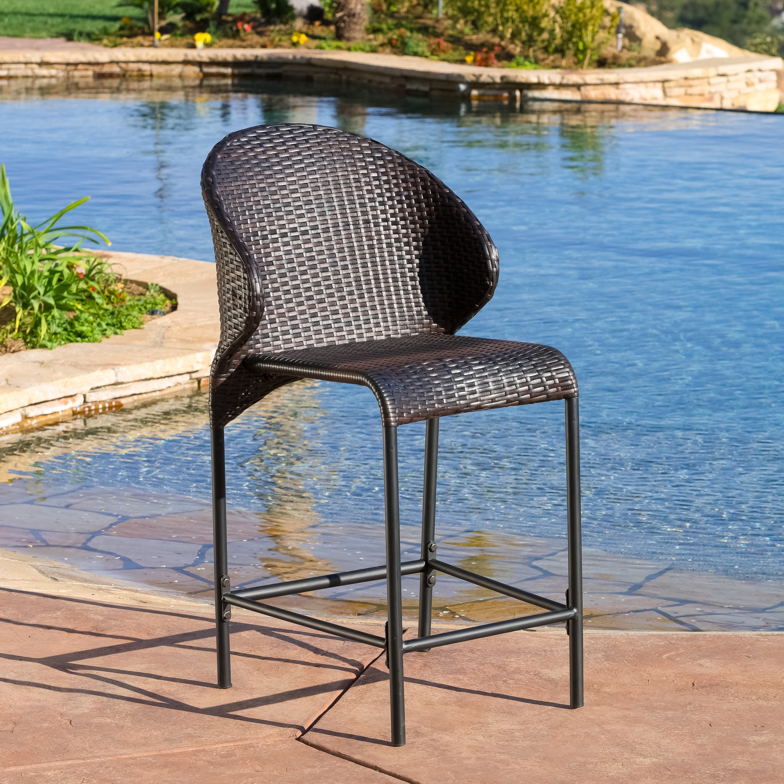 Shop Oyster Bay Outdoor Wicker Counter Stool (Set of 4) by ...