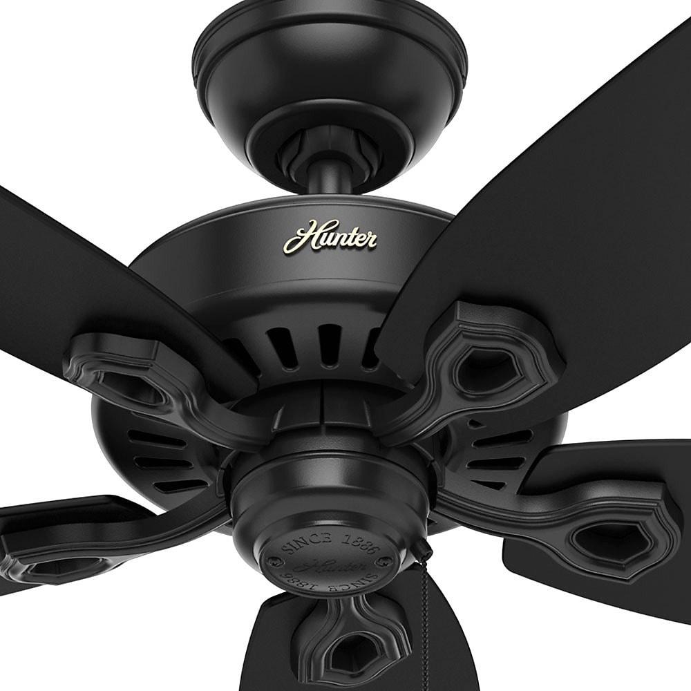 Shop Hunter Fan Builder Elite 52 Inch Matte Black Ceiling Fan With 5