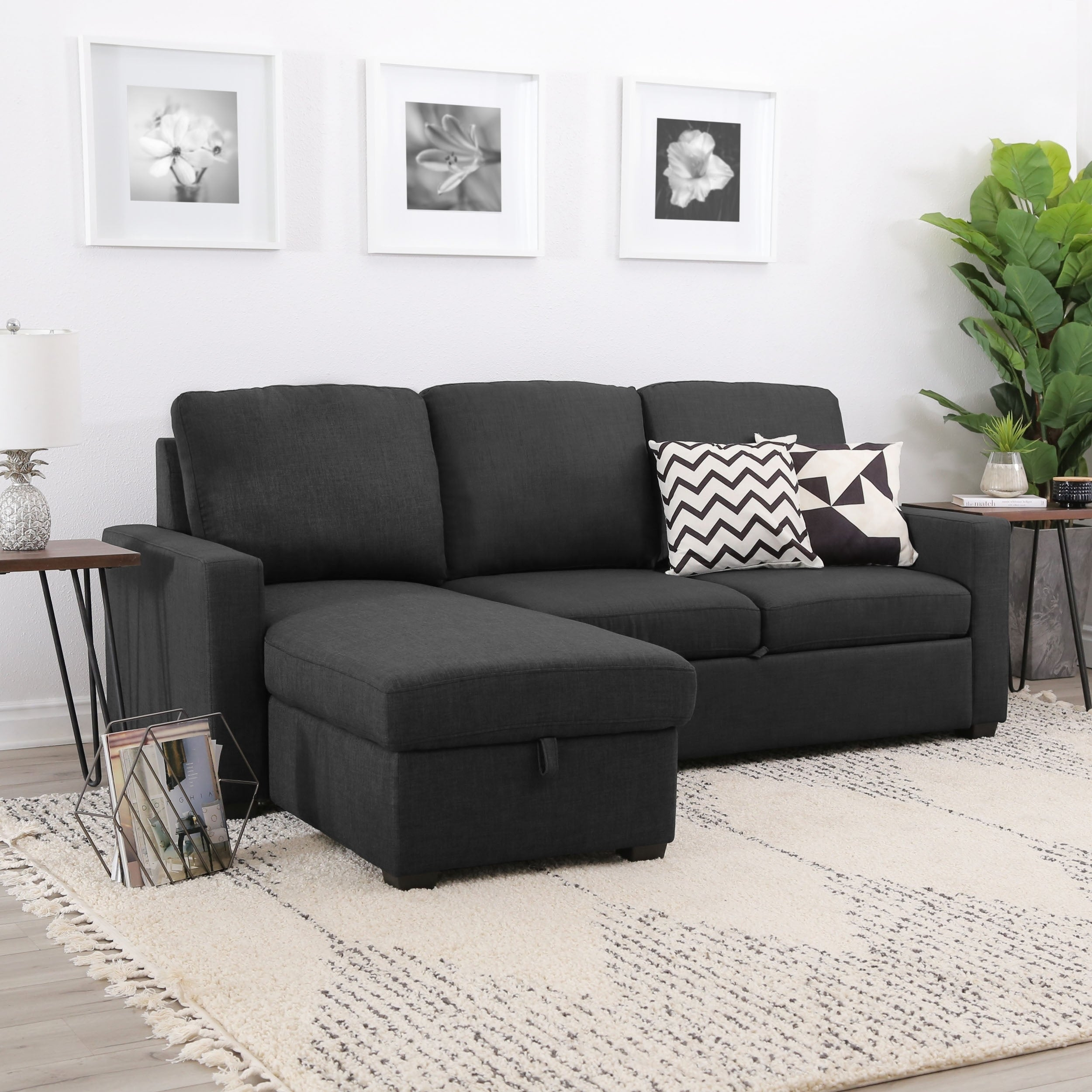 Shop Abbyson Newport Upholstered Sofa Storage Sectional On Sale