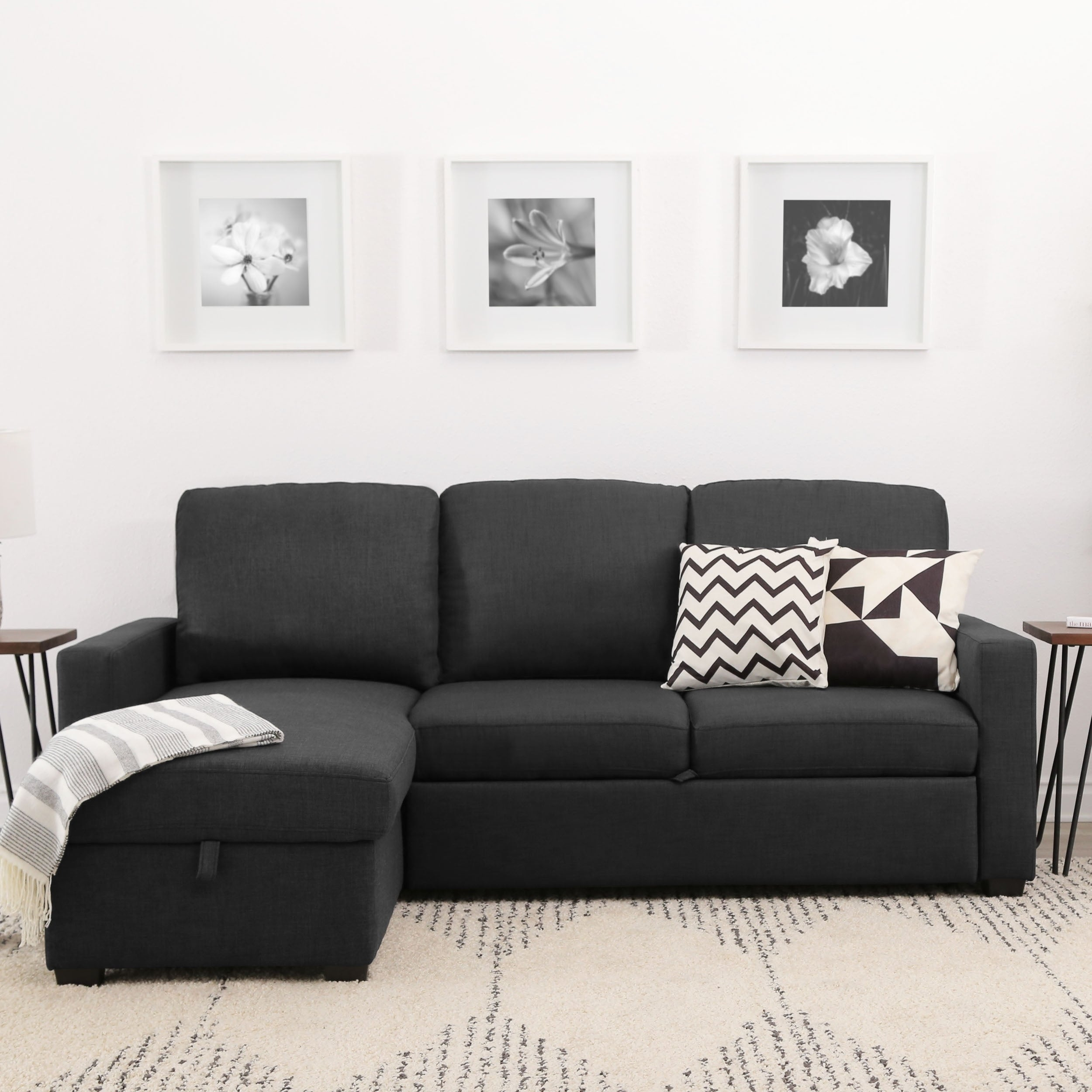 Abbyson Newport Dark Grey Upholstered Sleeper Sectional With Storage Free Shipping Today 11769165