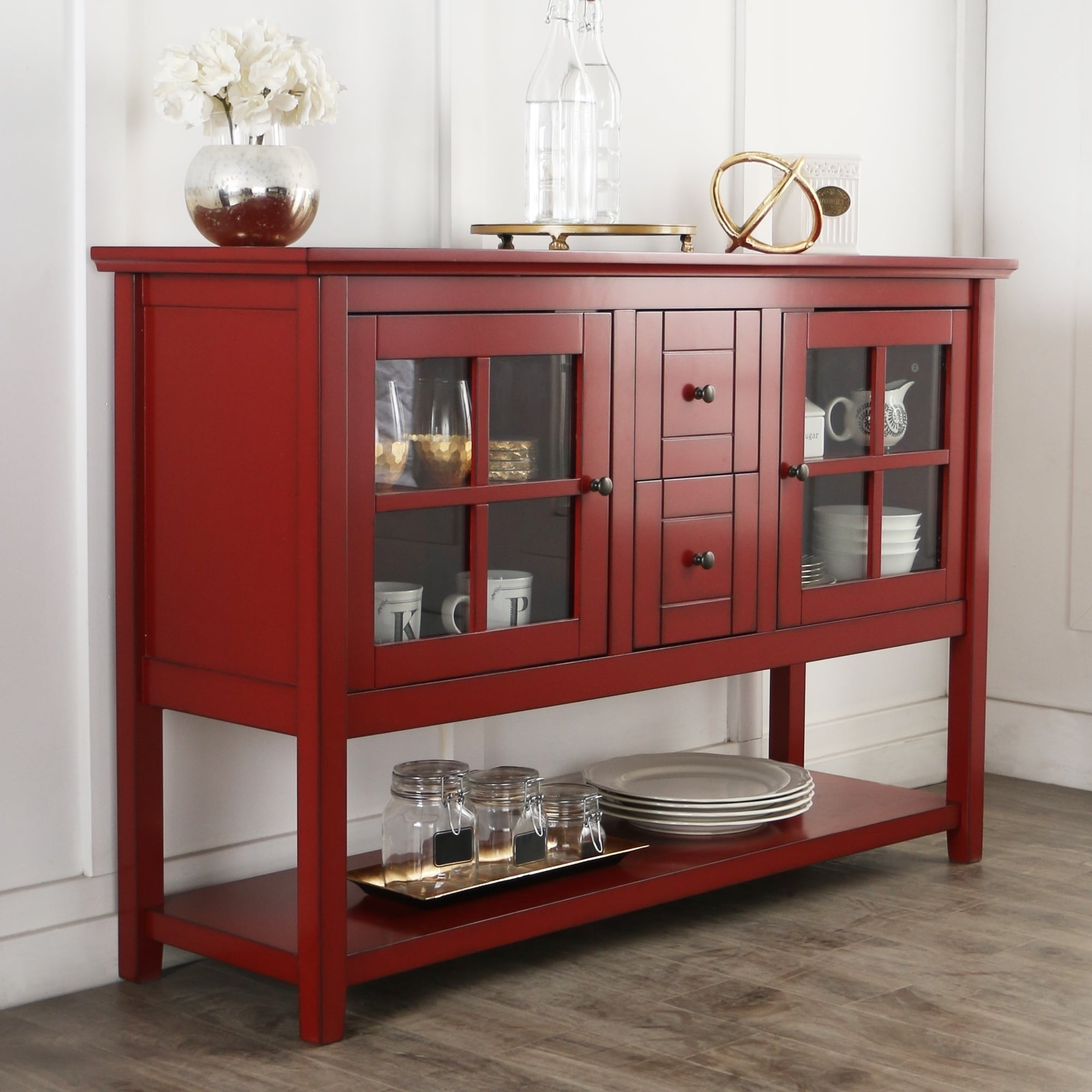 52 Inch Antique Red Wood Console Table Buffet  Free Shipping