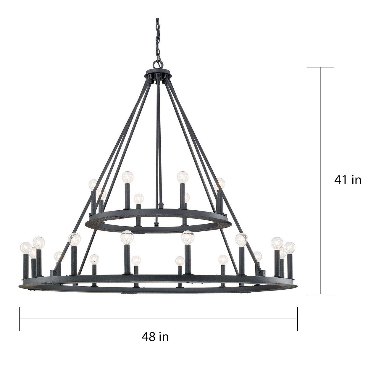 Shop capital lighting pearson collection 24 light black iron chandelier free shipping today overstock com 11771739