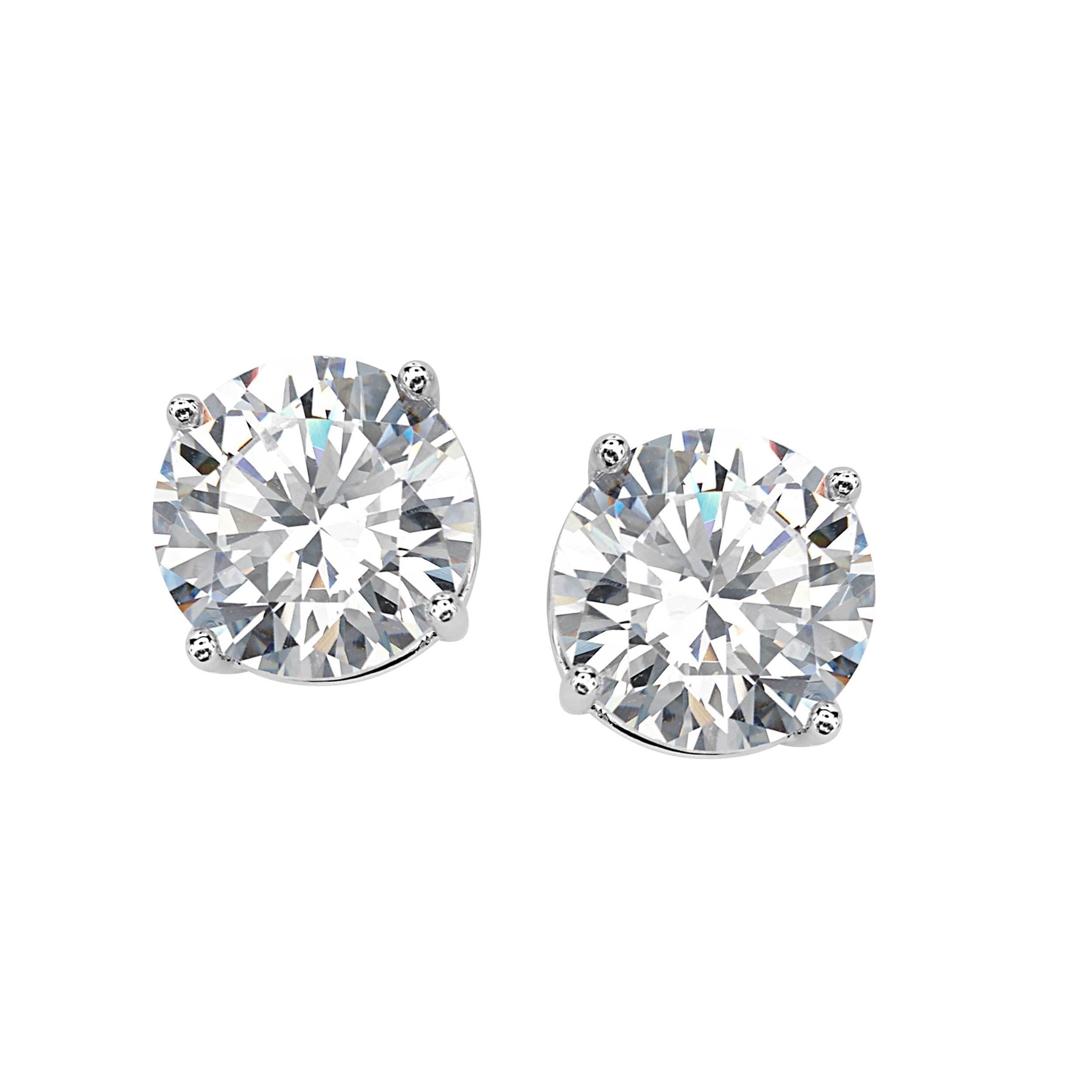 Sterling Silver 8 Mm Cubic Zirconia Stud Earrings On Free Shipping Orders Over 45 11771809