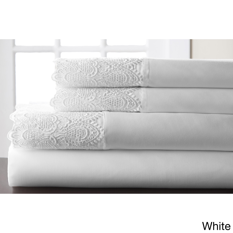 Royalty Lace 4 Piece 600 Thread Count Cotton Rich Sheet Set