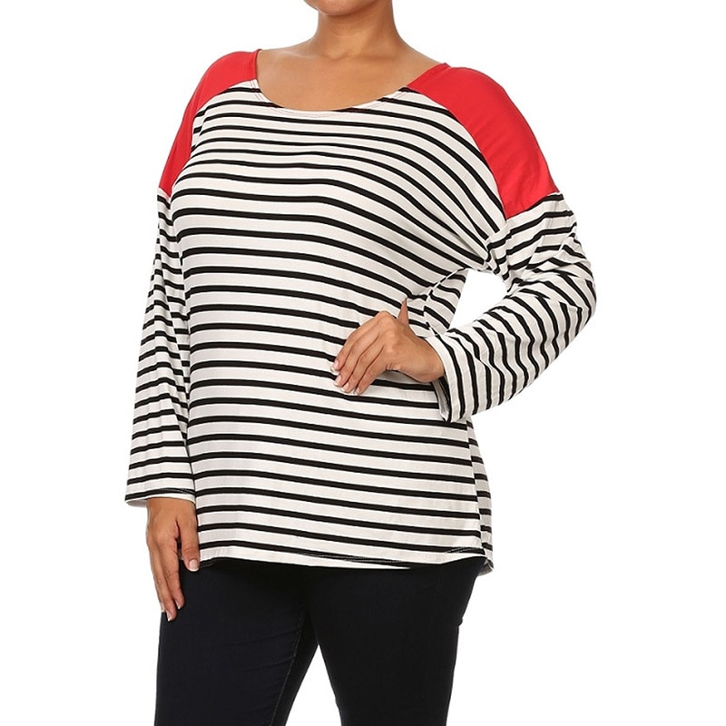 eb8ceb0e9ed Shop MOA Collection Women s Plus-size Striped Shirt - On Sale - Free ...