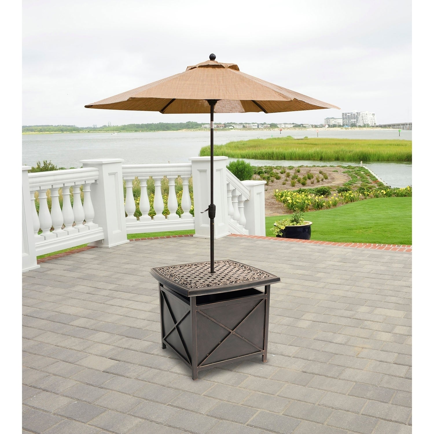Hanover Outdoor Traditions Tradumbtbl Cast Top Side Table And Umbrella Stand