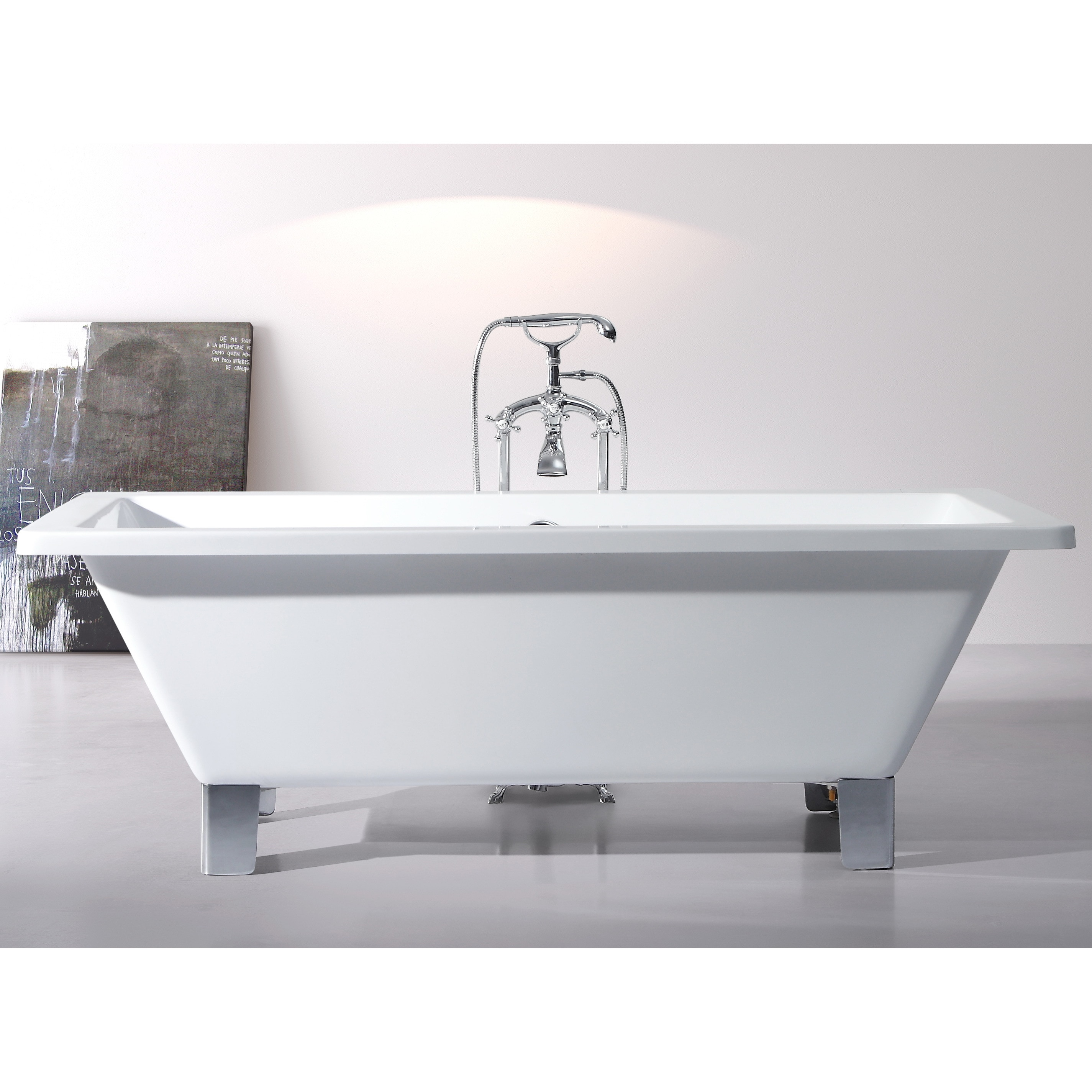 Shop Modern Freestanding 71 Inch Acrylic Tub With Square Feet Free