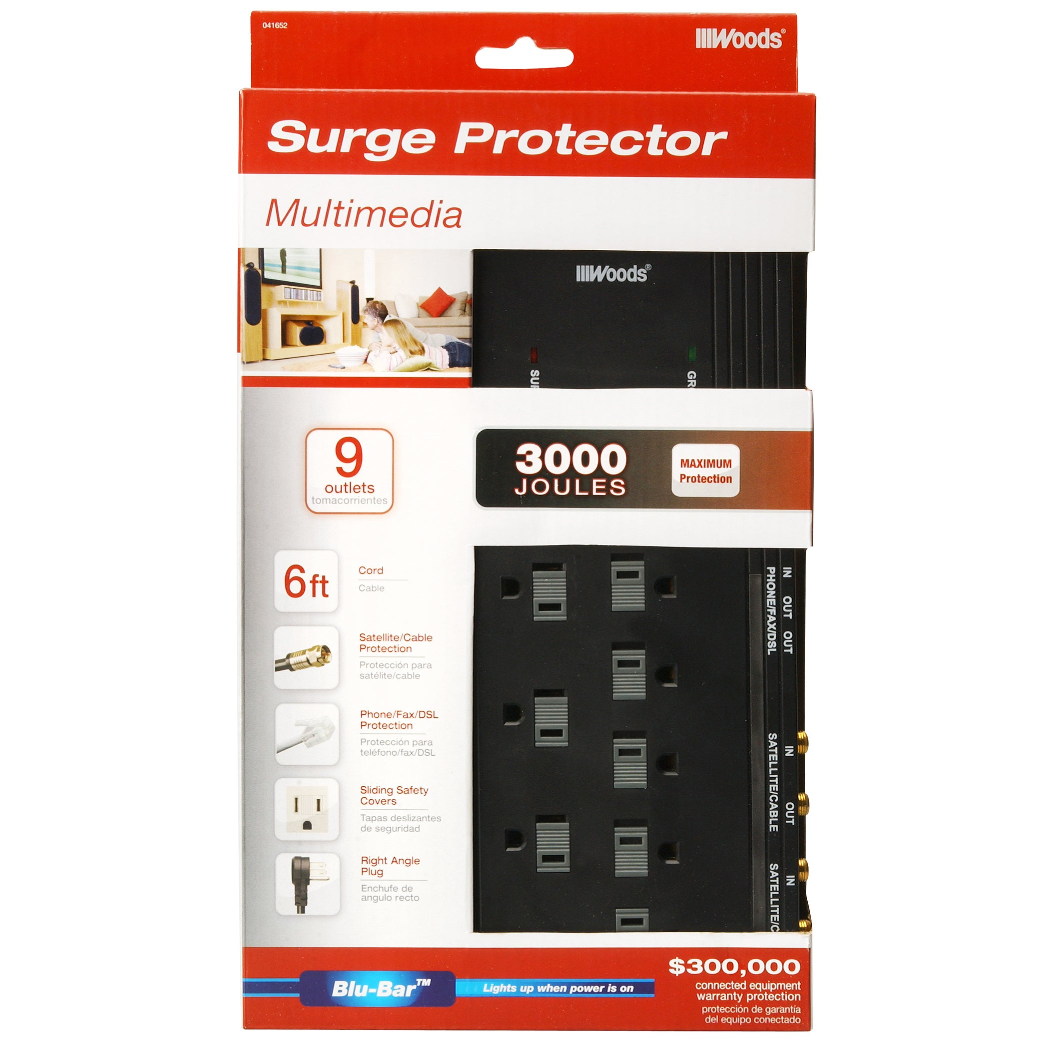 Woods 41652 88 11 9 Outlet 3000 Joules Black Surge Protector With 6 Cord Free Shipping On Orders Over 45 11781836