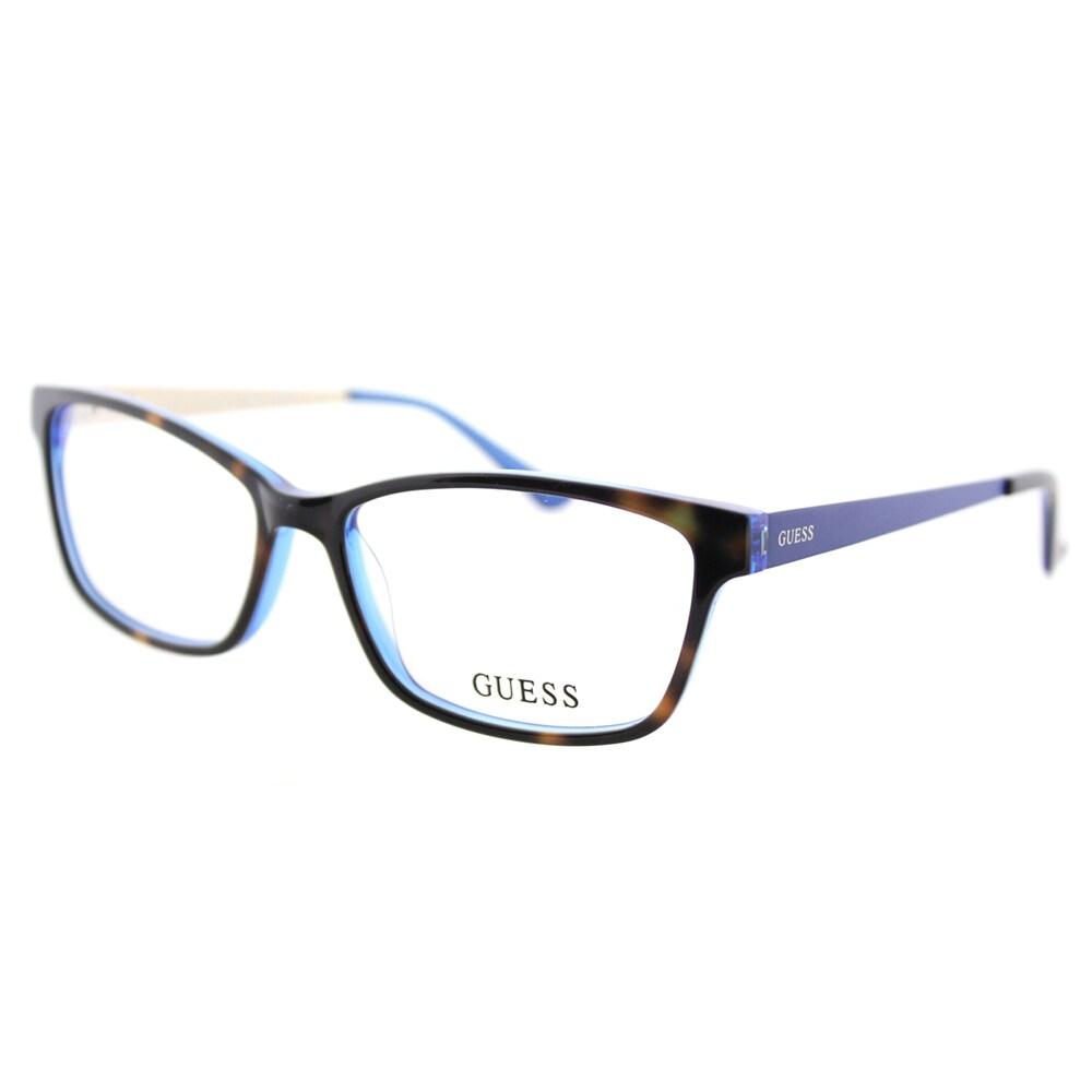 da2c51b5098 Guess GU 2538 052 Dark Havana Blue Plastic Cat-Eye 55mm Eyeglasses