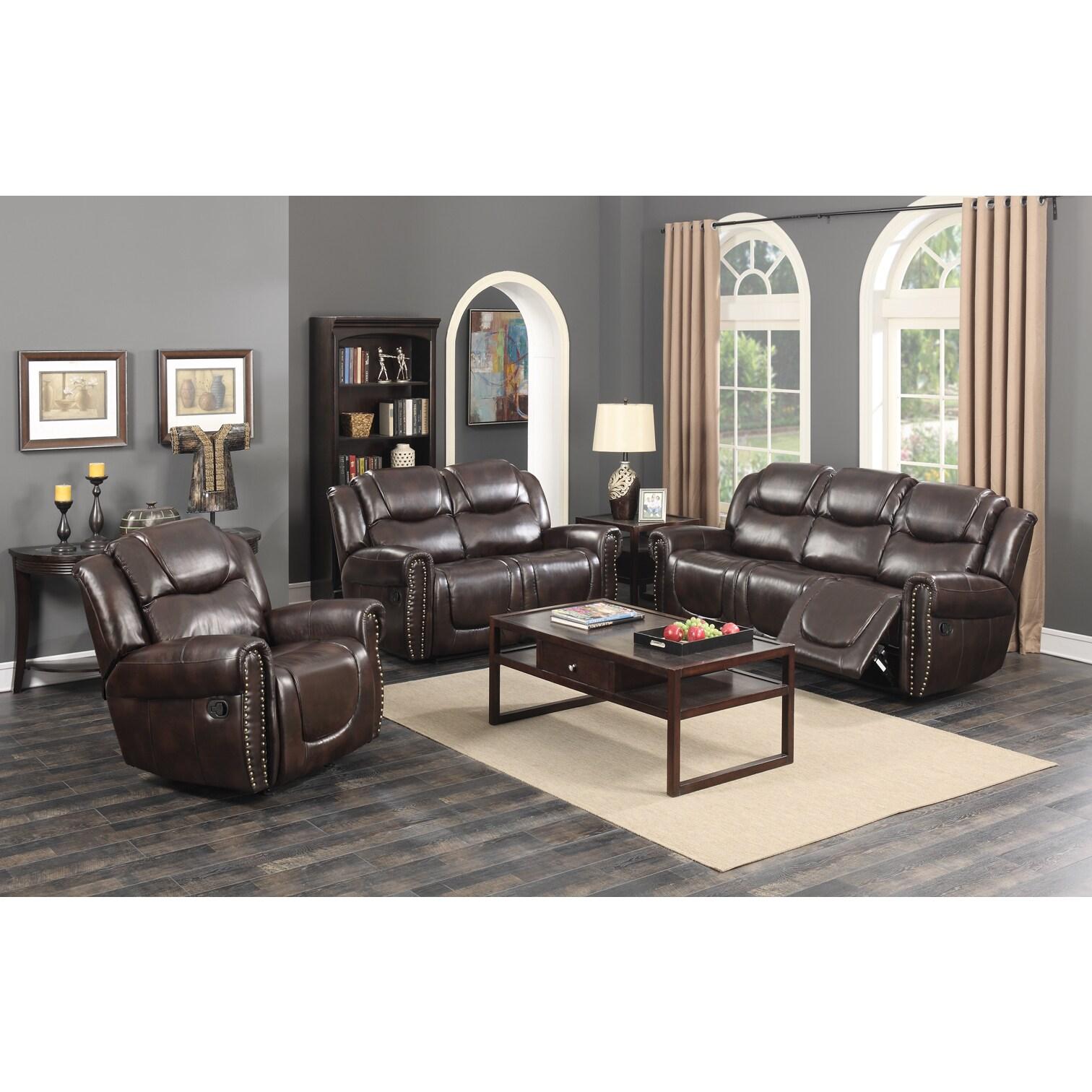 Shop Manhattan Dark Brown Bonded Leather 3 Piece Living Room