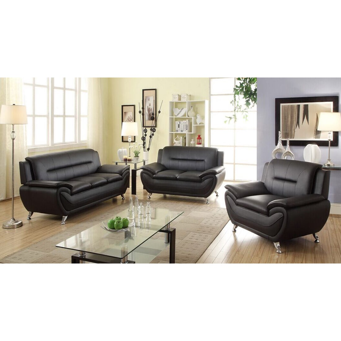 Alice Black Faux Leather 3-piece Modern Living Room Set - Free ...