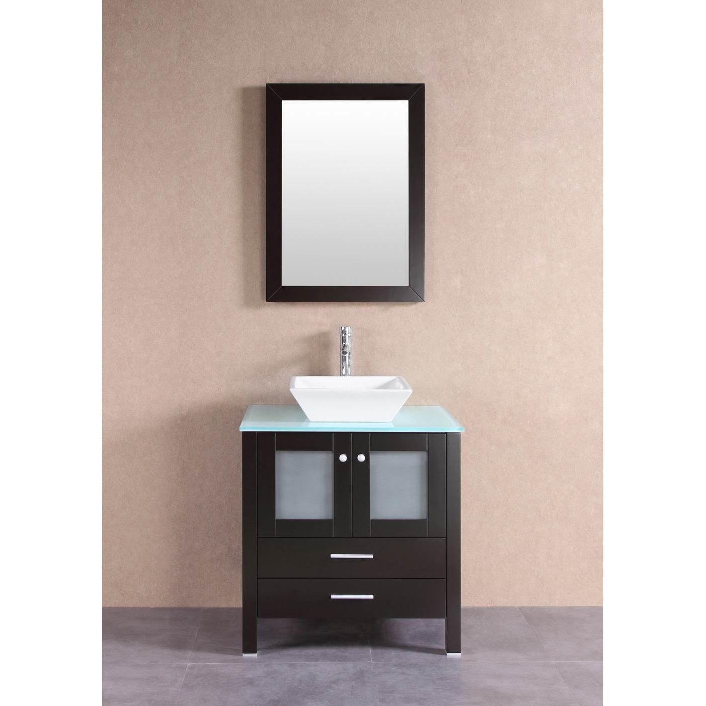 Belvedere Modern Espresso 30 Inch Bathroom Vanity With Glass Top And Vessel Sink