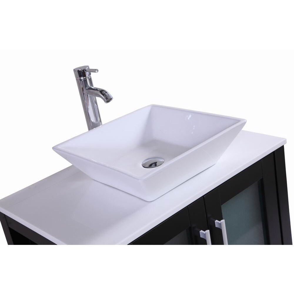 Shop Belvedere Modern Espresso 30 Inch Bathroom Vanity With Vessel Sink    Free Shipping Today   Overstock.com   11783606
