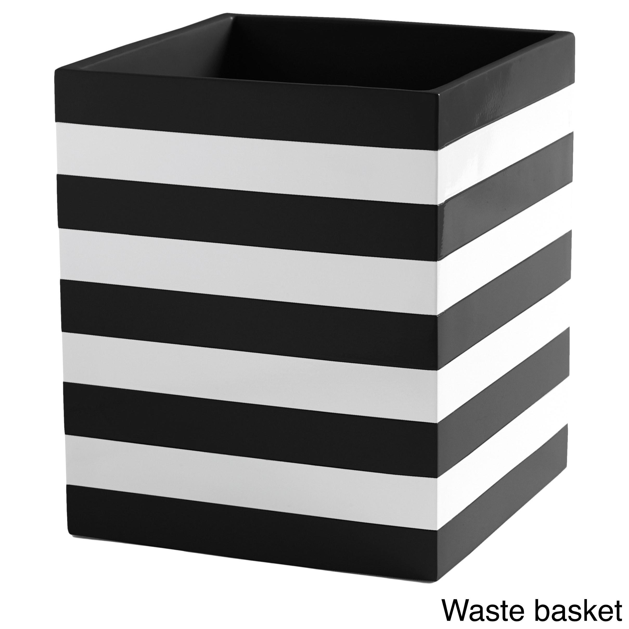 Shop Coastal Stripe Black/White Bathroom Accessories - Free Shipping ...
