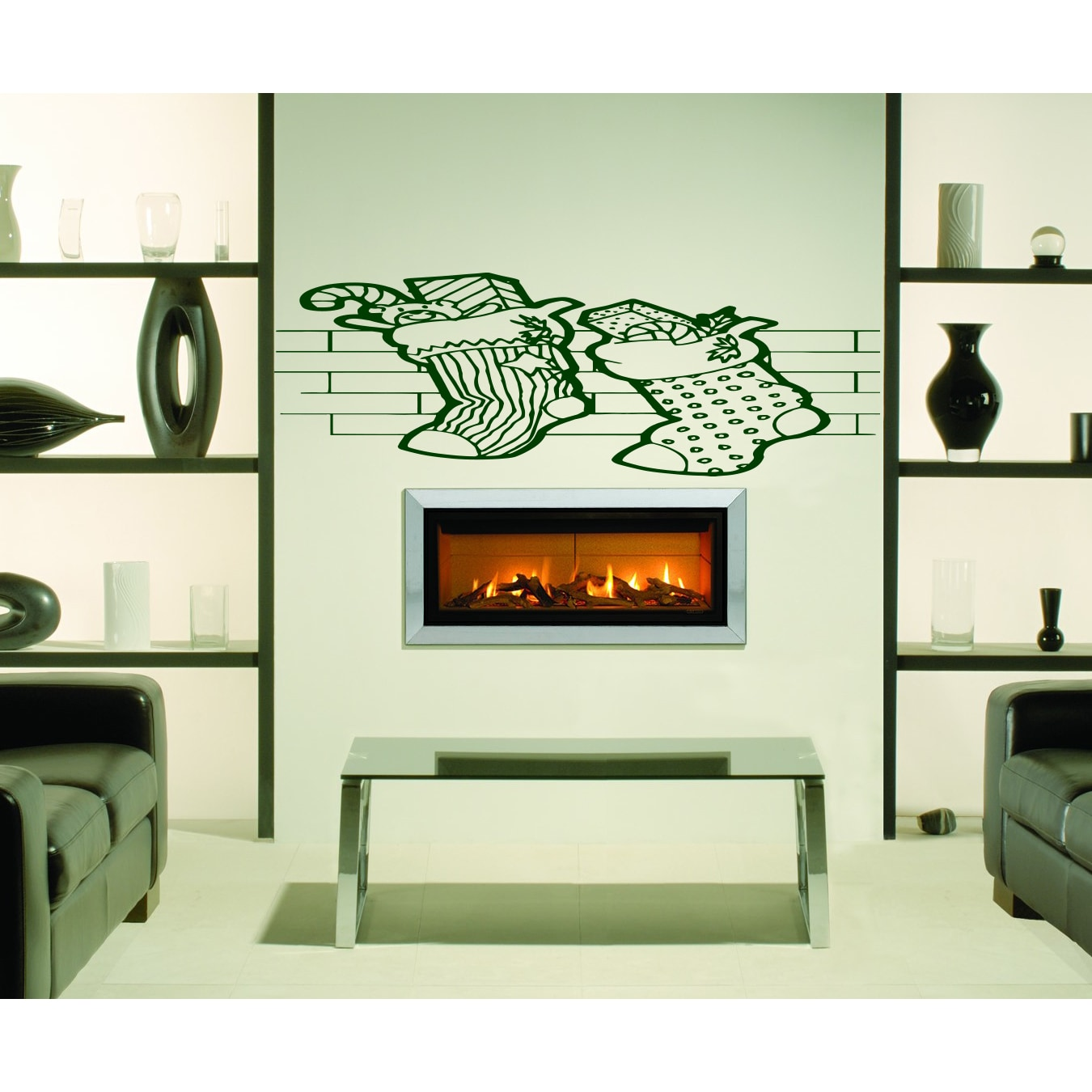 Shop Christmas Socks By The Fireplace Wall Art Sticker Decal Red
