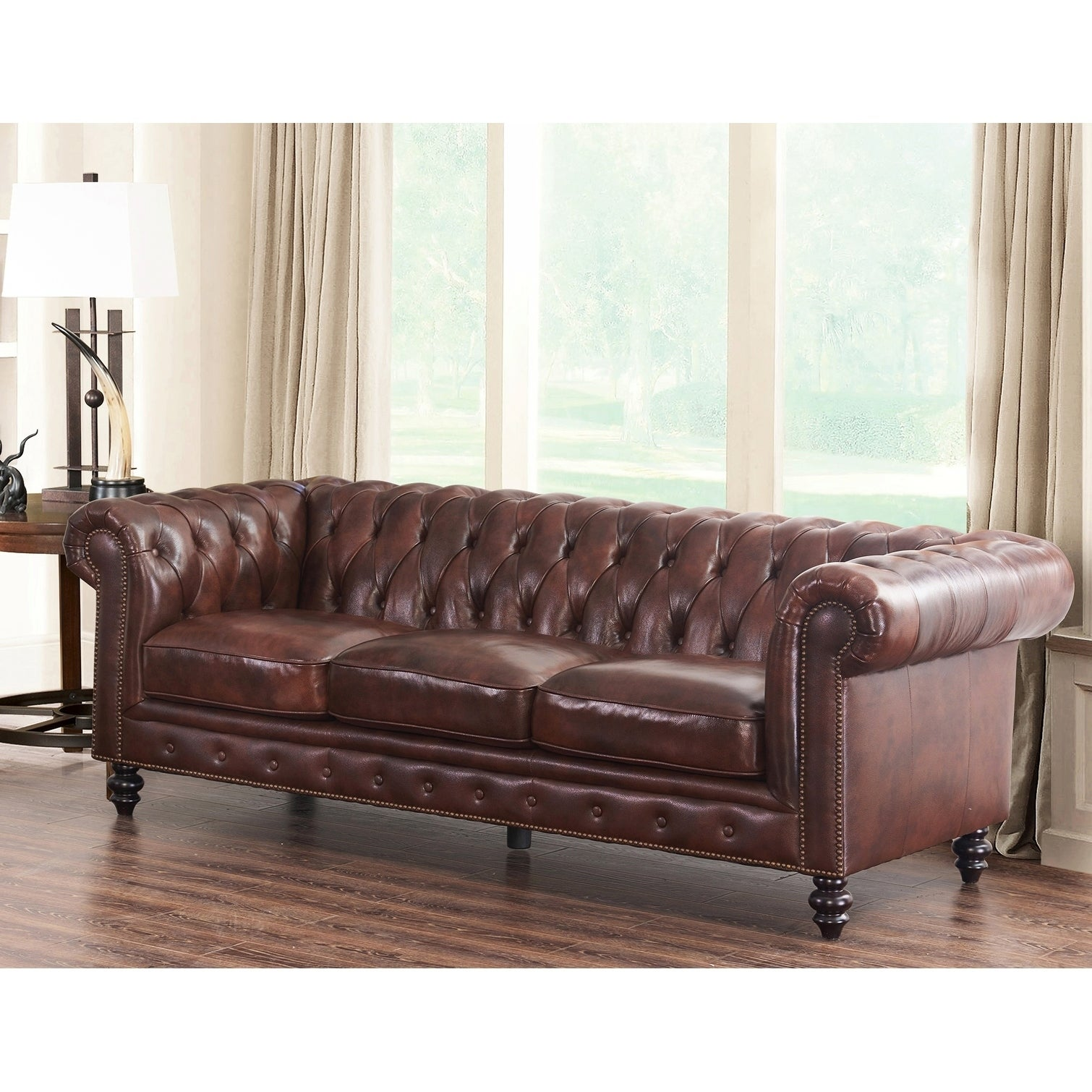 Abbyson grand chesterfield brown top grain leather sofa