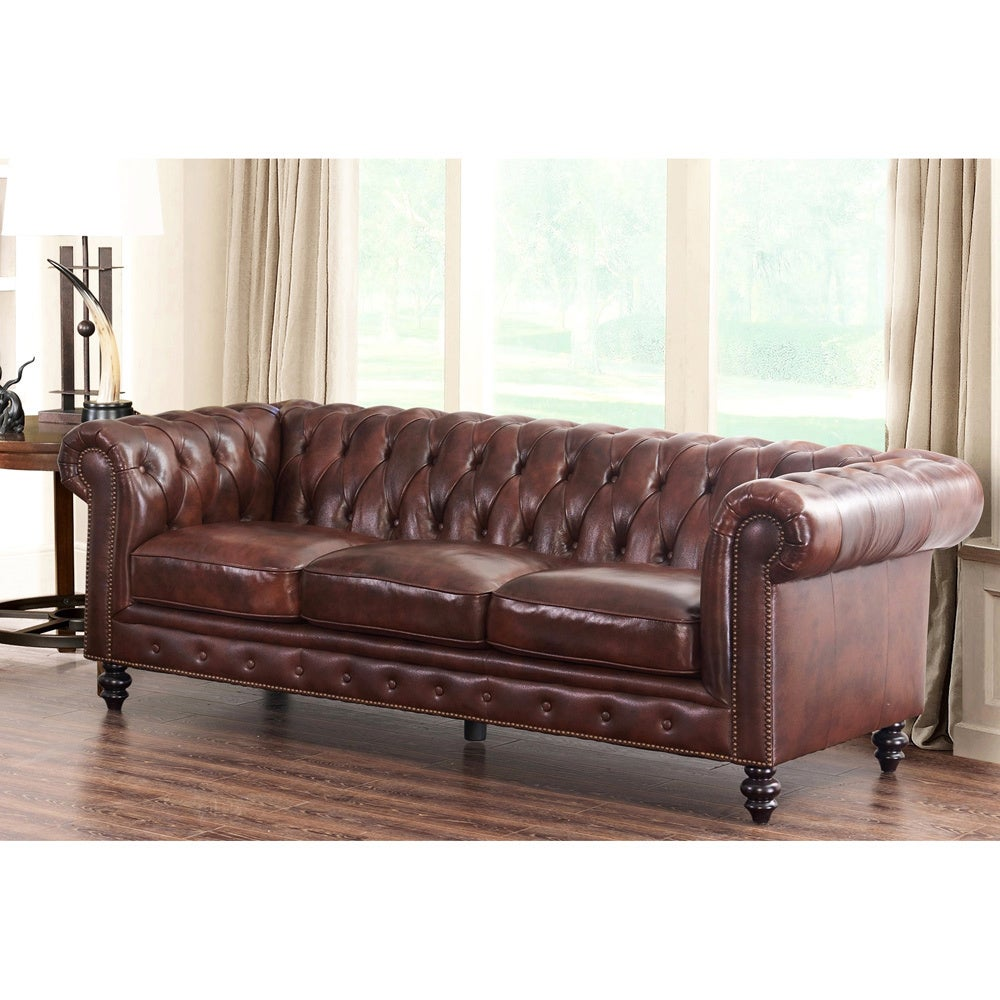 Abbyson Grand Chesterfield Brown Top Grain Leather Sofa   Free Shipping  Today   Overstock.com   18715497